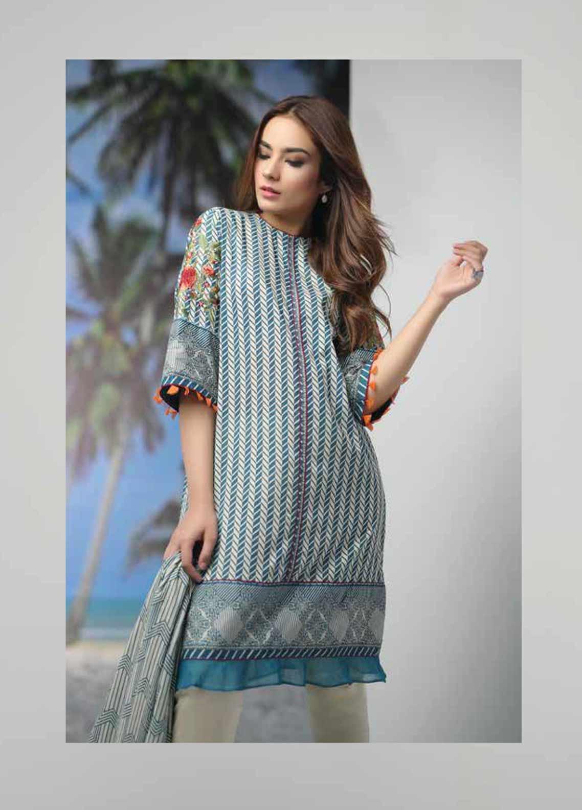 Al Karam Embroidered Lawn Unstitched 3 Piece Suit AK19-L2 4.1 BLUE - Spring / Summer Collection