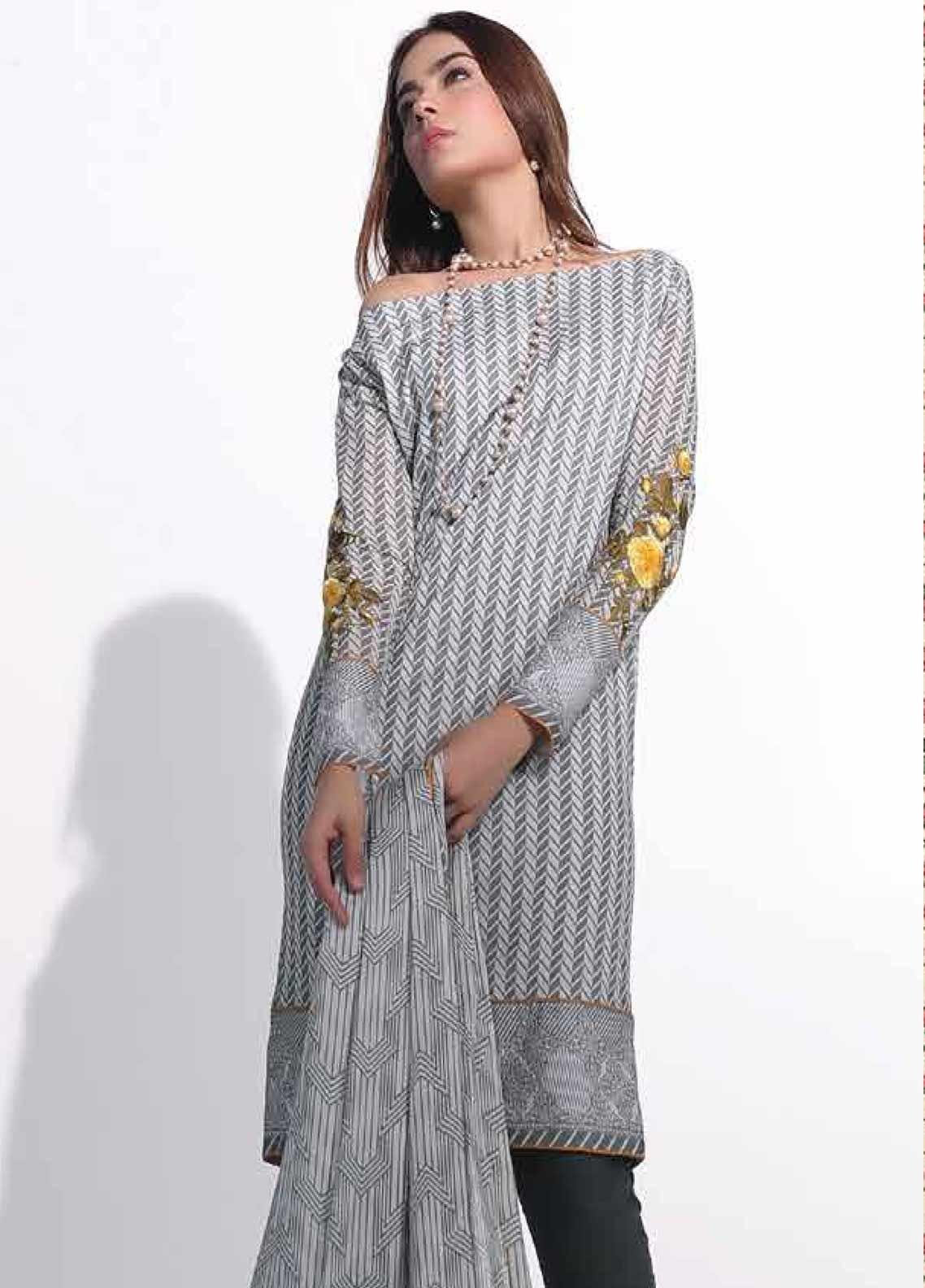 Al Karam Embroidered Lawn Unstitched 3 Piece Suit AK19-L2 4.1 GREY - Spring / Summer Collection
