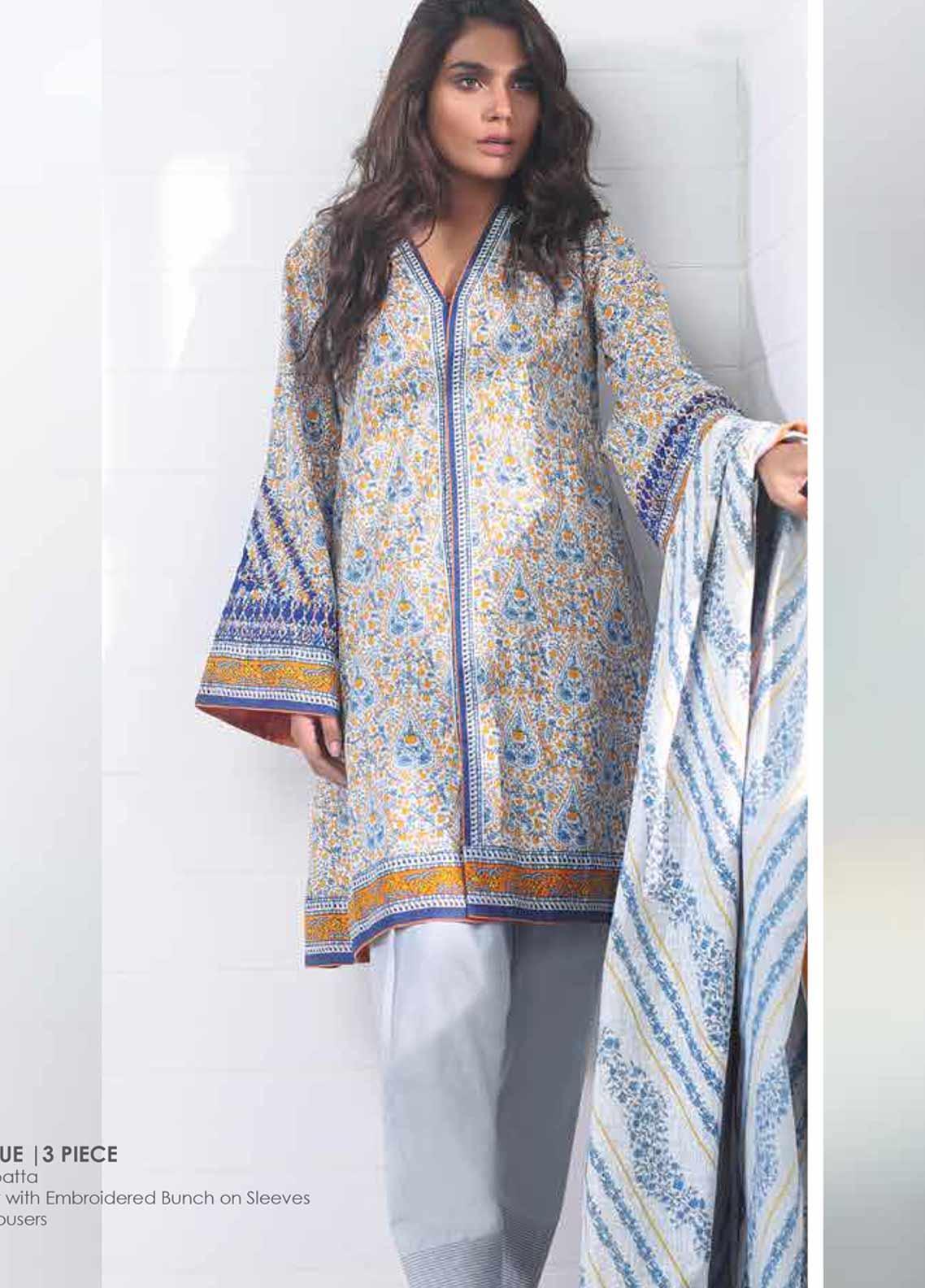 Al Karam Embroidered Lawn Unstitched 3 Piece Suit AK19-L2 5.1 BLUE - Spring / Summer Collection