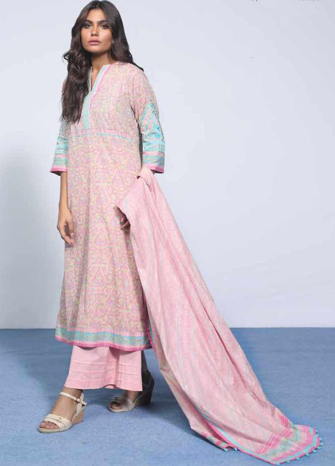 Al Karam Embroidered Lawn Unstitched 3 Piece Suit AK19-L2 5.1 PINK - Spring / Summer Collection