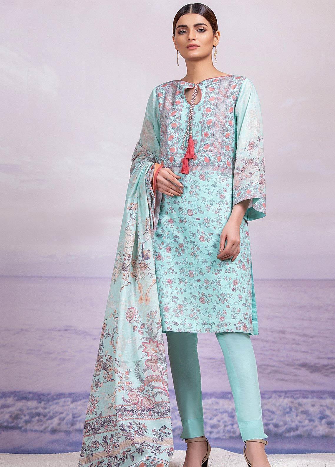 Al Karam Printed Lawn Unstitched 3 Piece Suit AK19-L2 6.1 GREEN - Spring / Summer Collection