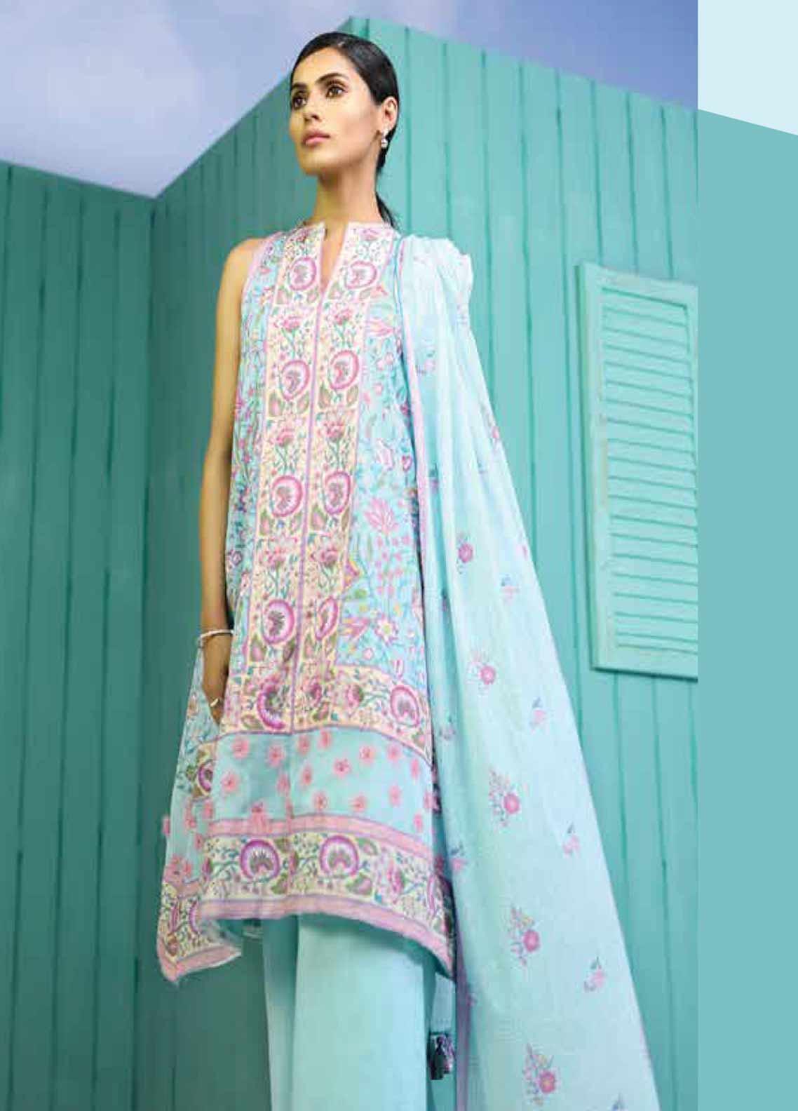 Al Karam Printed Lawn Unstitched 3 Piece Suit AK19-L2 7.1 BLUE - Spring / Summer Collection