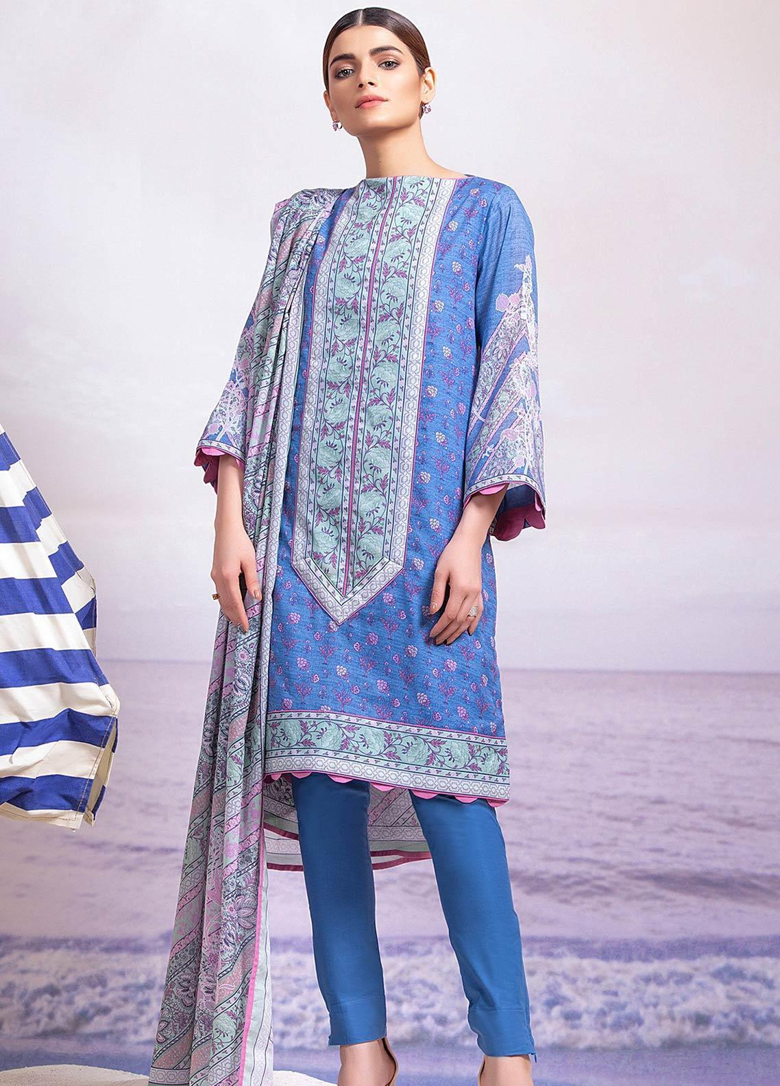 Al Karam Printed Lawn Unstitched 3 Piece Suit AK19-L2 8.1 BLUE - Spring / Summer Collection