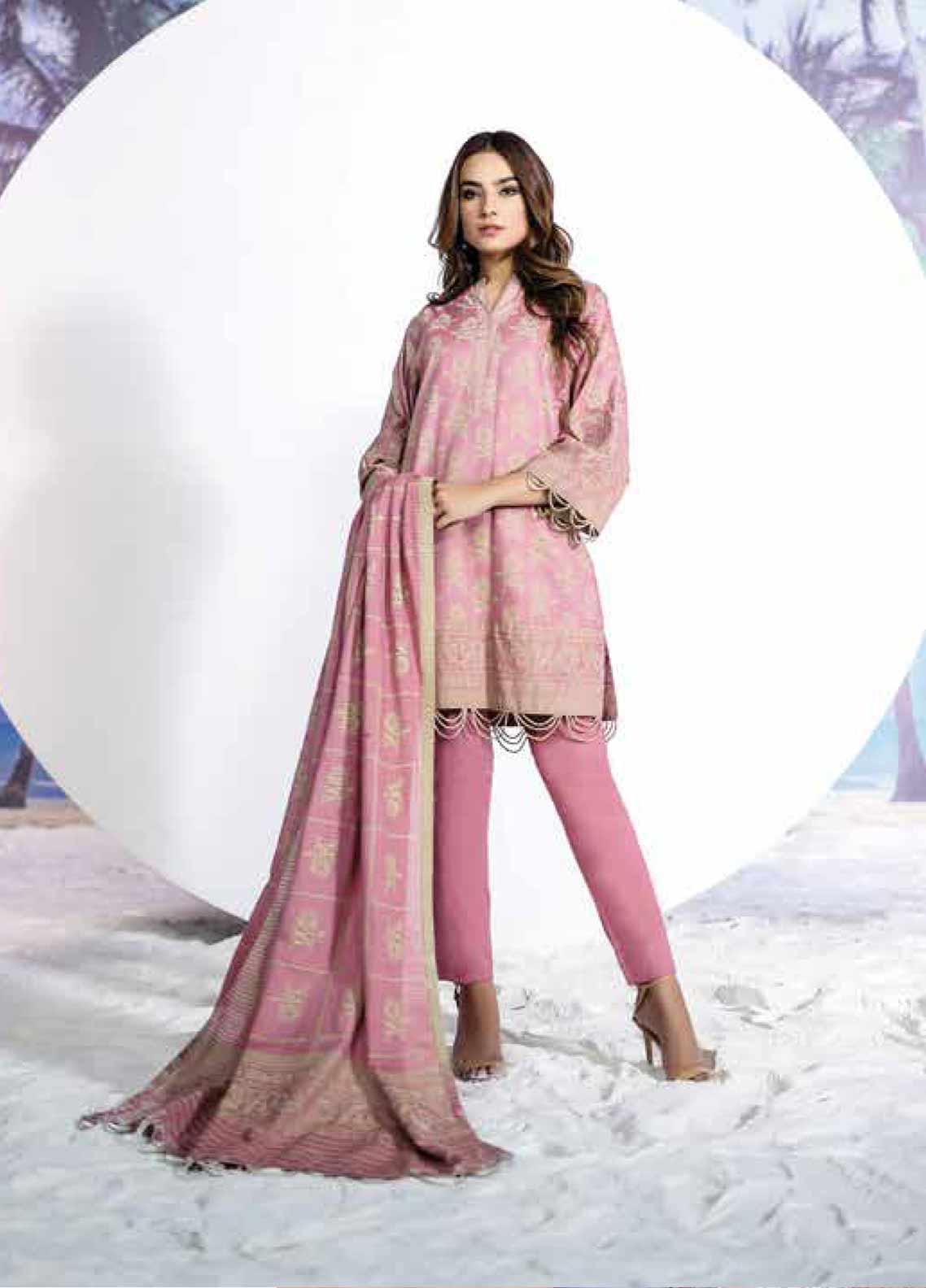 b8b55293d2 Al Karam Embroidered Lawn Unstitched 2 Piece Suit AK19-L2 9.1 PINK - Spring  /