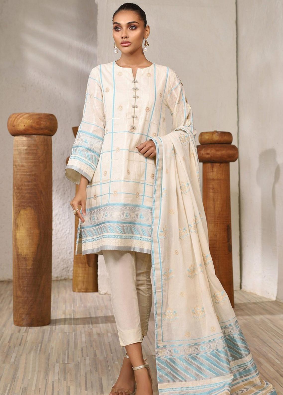 Al Karam Printed Jacquard Unstitched 3 Piece Suit AK20SSL-2 SS-5-1-20 Off White - Spring / Summer Collection