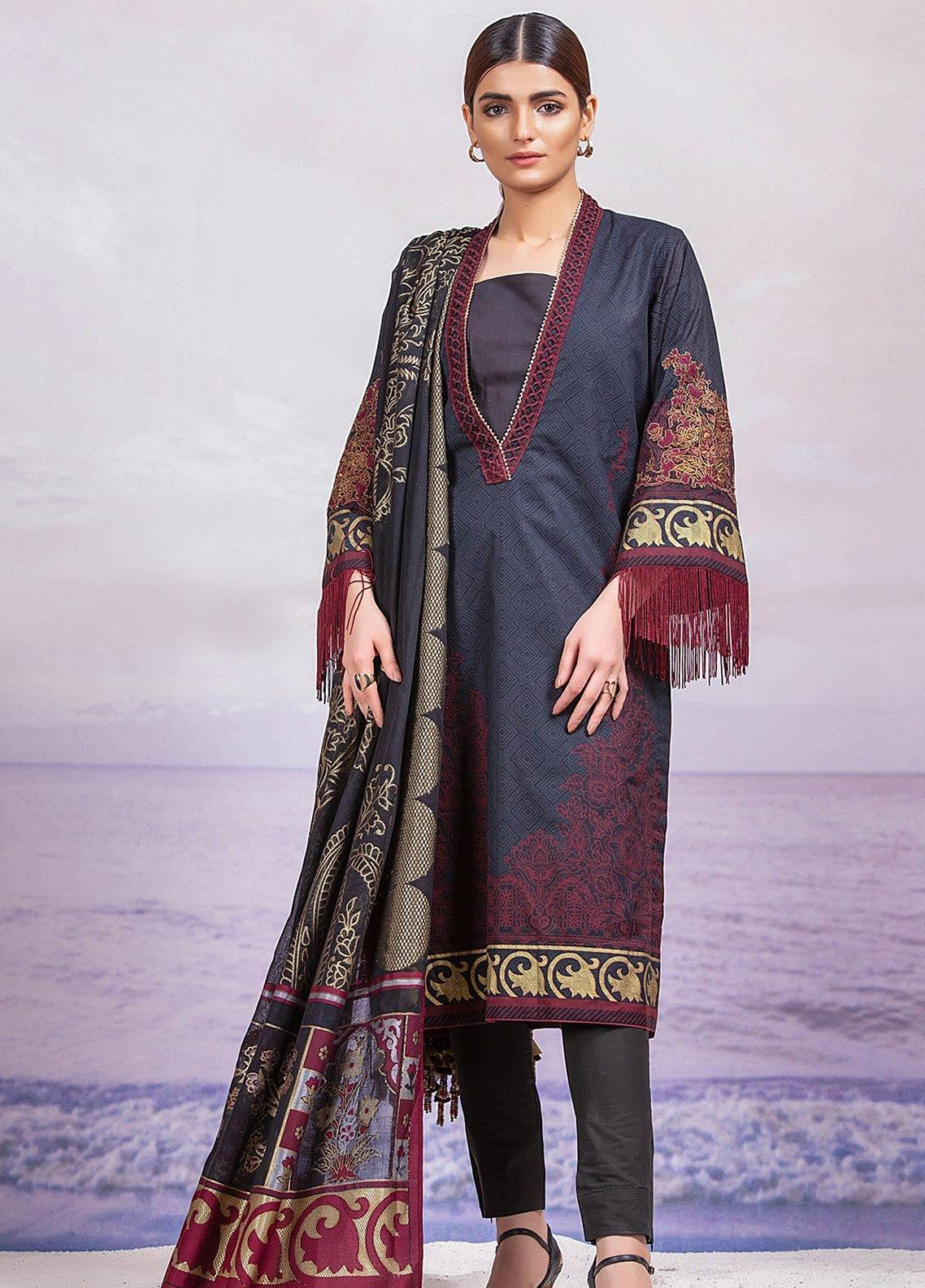 Al Karam Embroidered Lawn Unstitched 3 Piece Suit AK19-L2 05 BLACK - Spring / Summer Collection