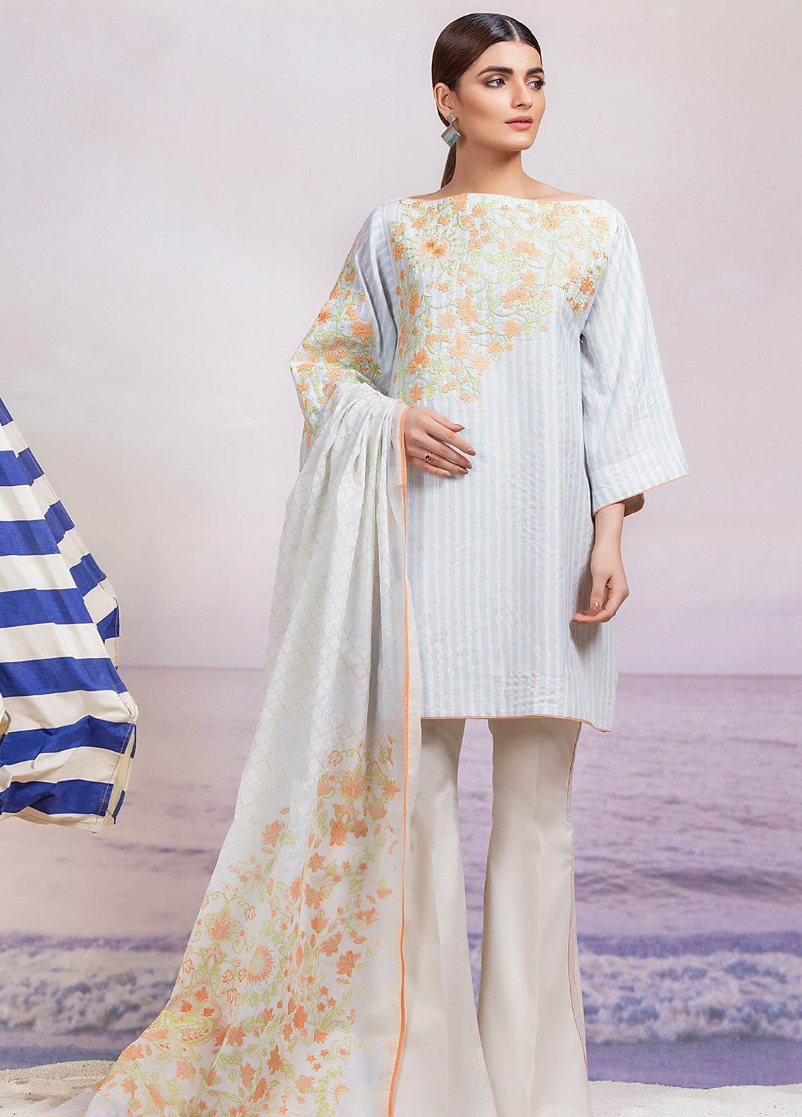Al Karam Embroidered Lawn Unstitched 3 Piece Suit AK19-L2 09 BLUE - Spring / Summer Collection