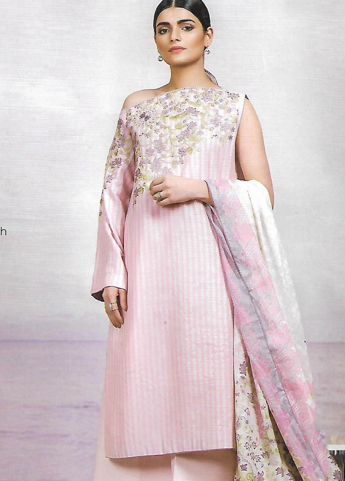 Al Karam Embroidered Lawn Unstitched 3 Piece Suit AK19-L2 09 PINK - Spring / Summer Collection