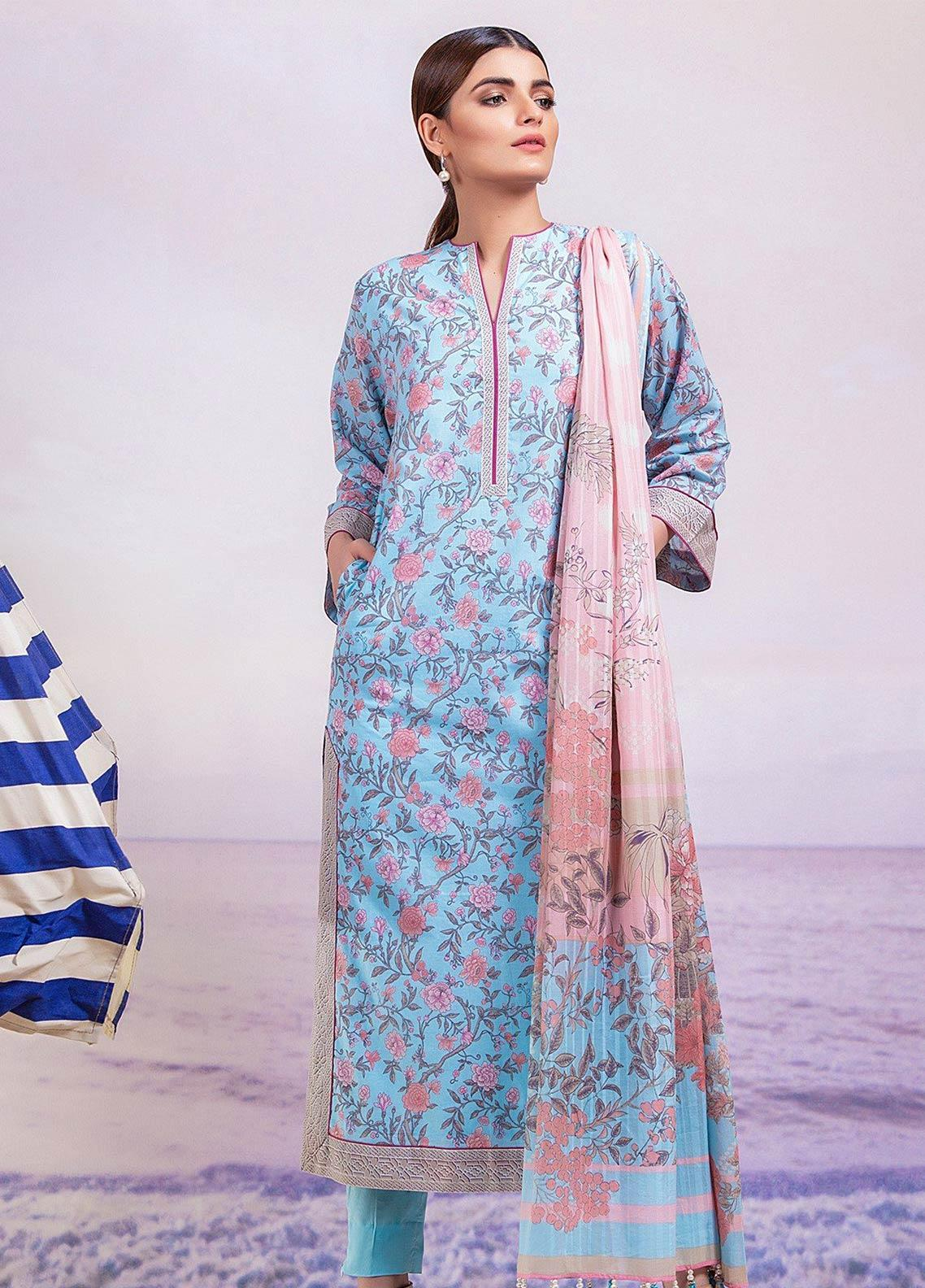 Al Karam Printed Lawn Unstitched 3 Piece Suit AK19-L2 1.1 BLUE - Spring / Summer Collection