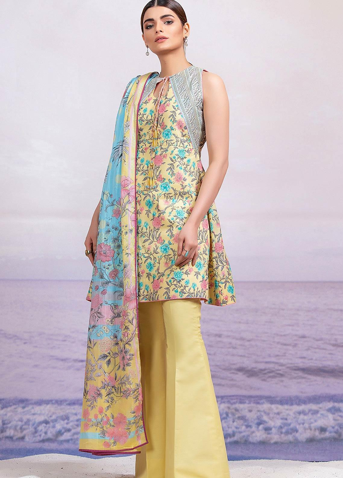 Al Karam Printed Lawn Unstitched 3 Piece Suit AK19-L2 1.1 YELLOW - Spring / Summer Collection