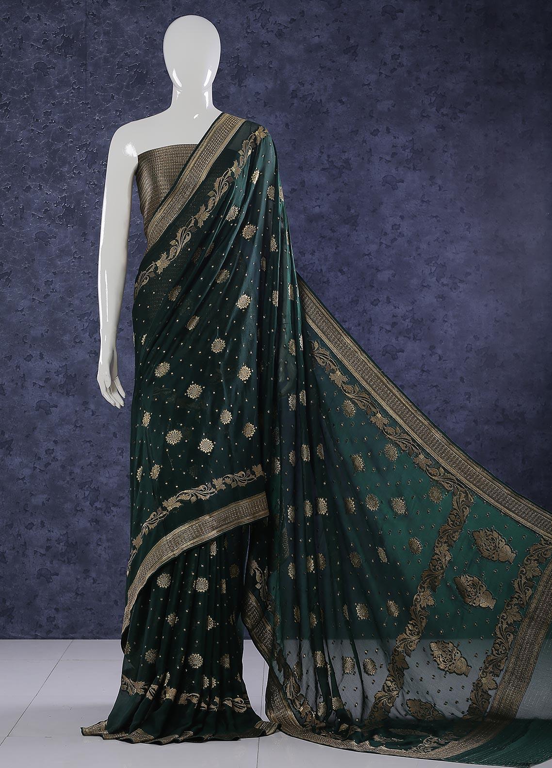 Al Rahim Banarsi Embroidered Chiffon Unstitched Saree Mughal Atlas Zari - Festive Collection