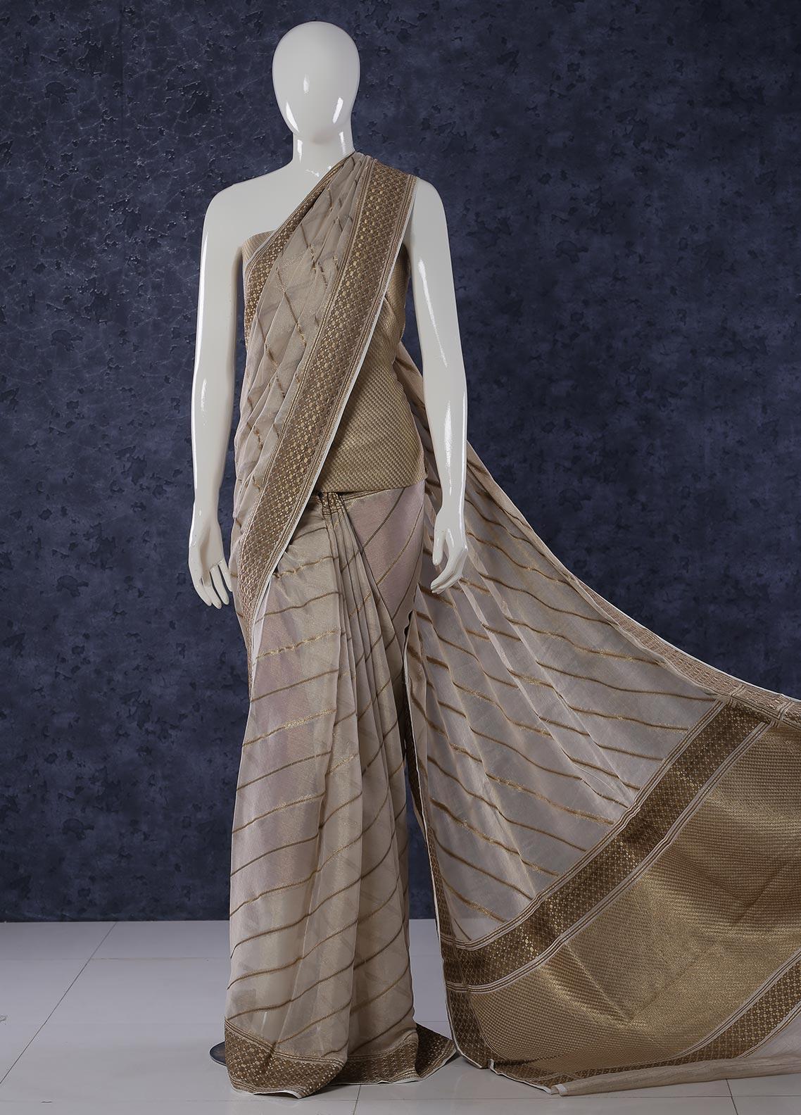 Al Rahim Banarsi Embroidered Missouri Unstitched Saree Tissue Strip - Festive Collection