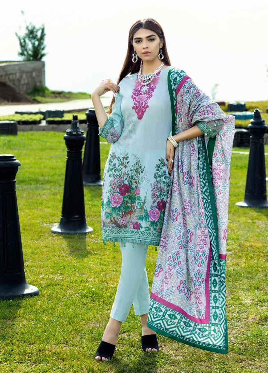 Al Zohaib Printed Lawn Unstitched 3 Piece Suit AZC19PL 1 - Mid Summer Collection