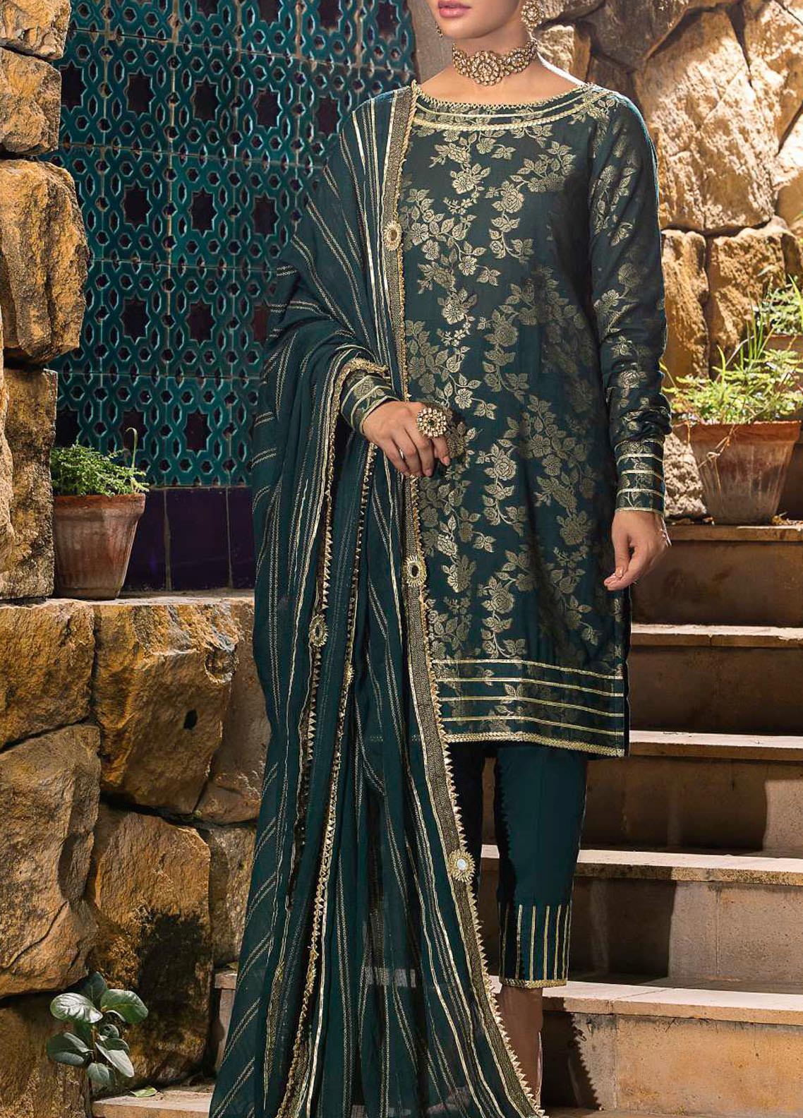 Al Zohaib Embroidered Jacquard Unstitched 3 Piece Suit AZ20JS 06 - Summer Collection