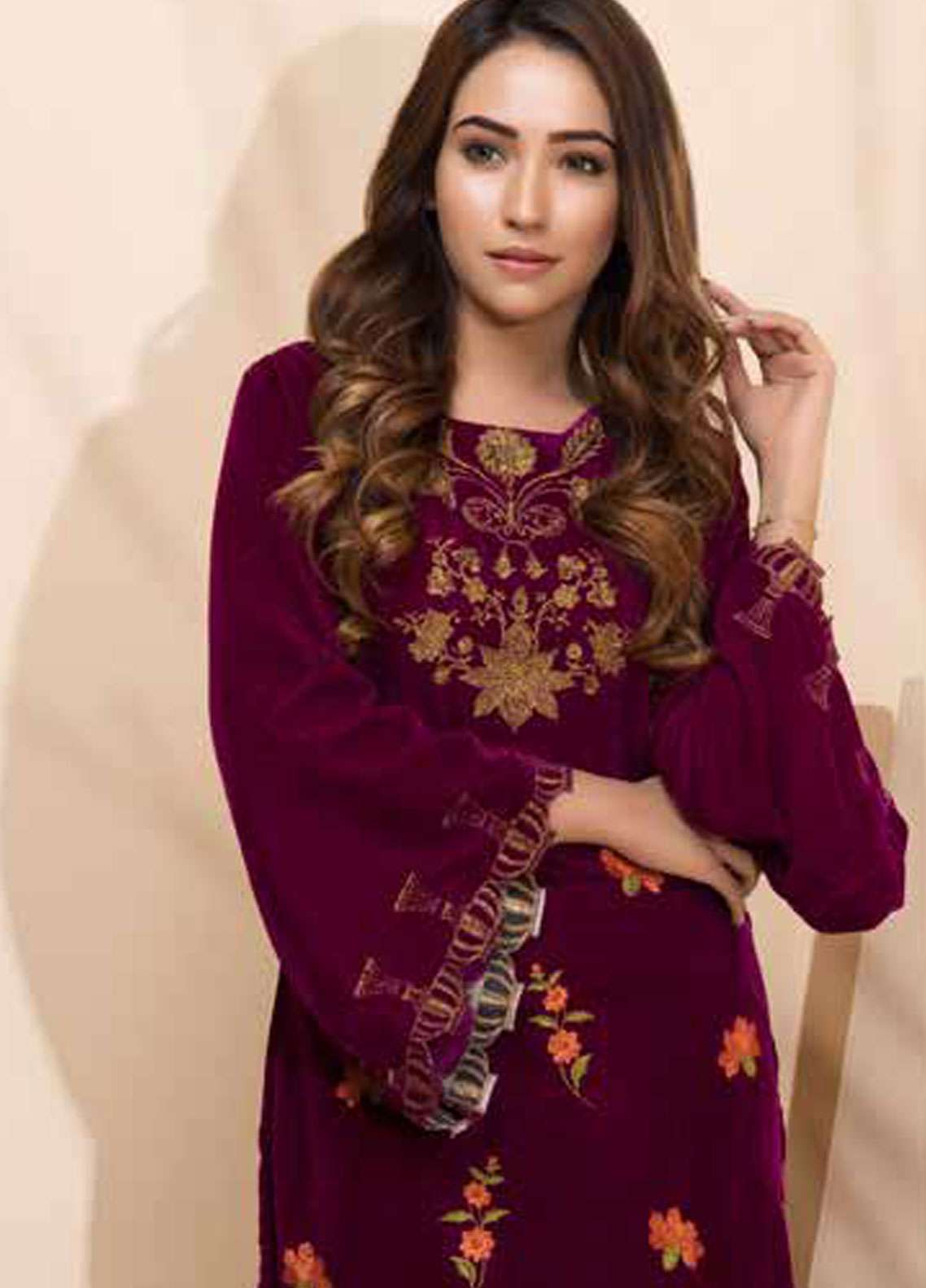 Al Zohaib Embroidered Velvet Unstitched Kurties AZ18-V2 03 - Winter Collection