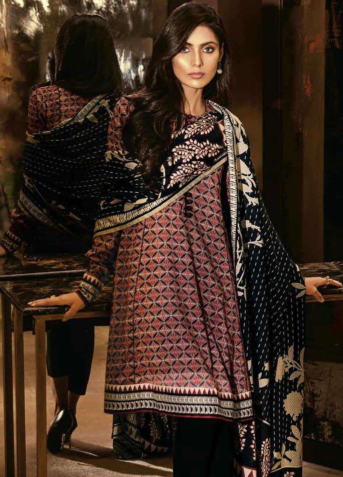 6c17dfebc5 Al Karam Printed Viscose Unstitched 3 Piece Suit AK18W FW 4.1 BLACK -  Winter Fashion