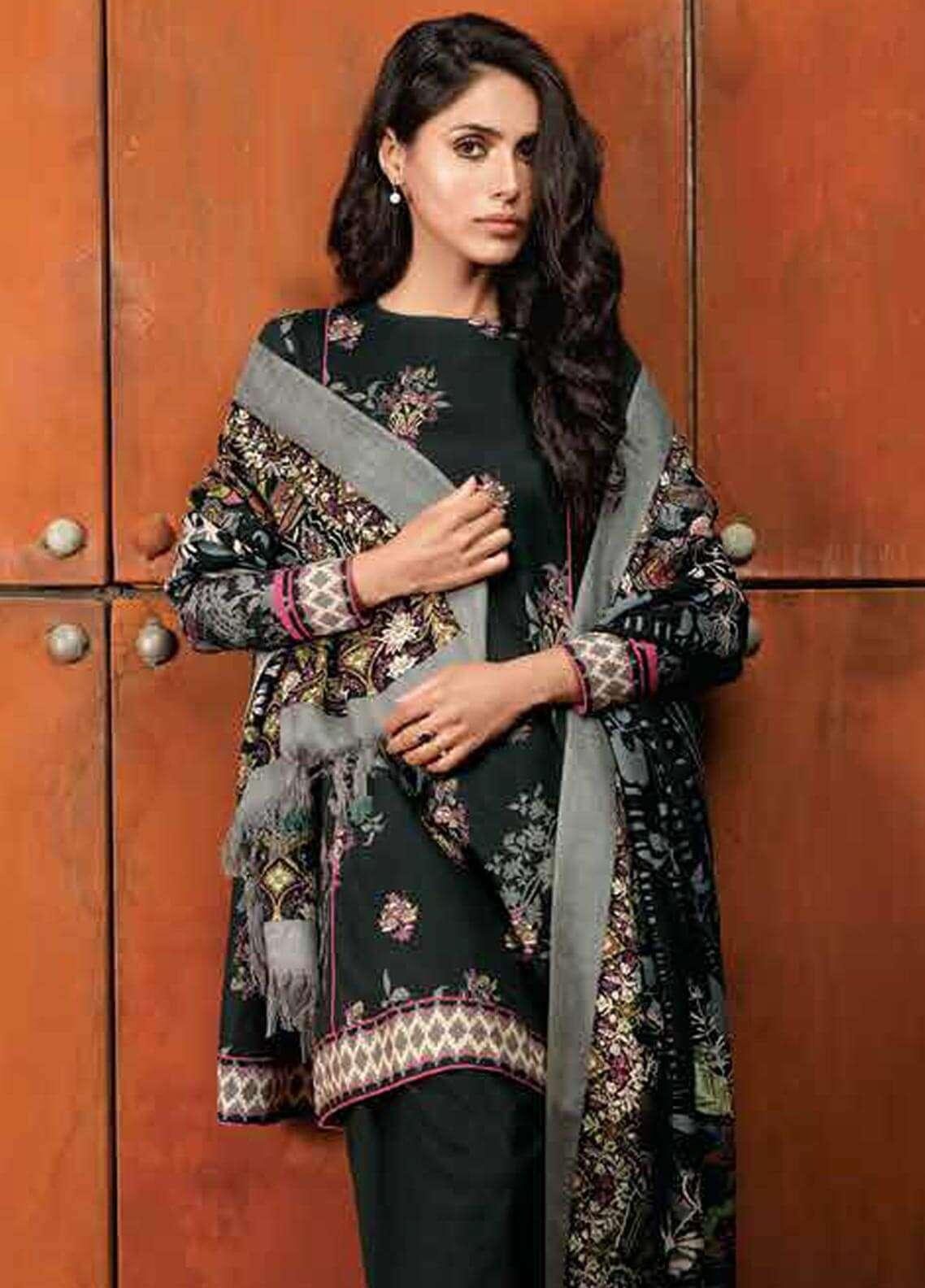 0e069ec276 Al Karam Printed Khaddar Unstitched 3 Piece Suit AK18W FW 48.1 BLACK -  Winter Fashion