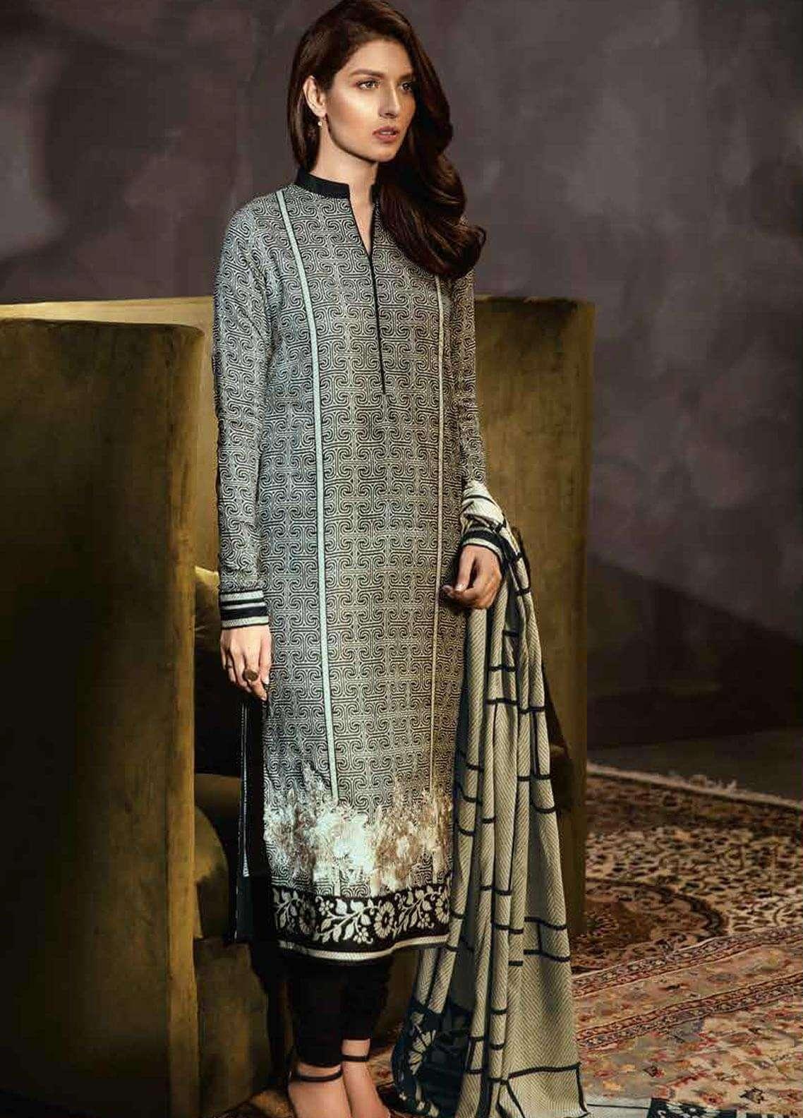 0cc2a29387 Al Karam Embroidered Viscose Unstitched 3 Piece Suit AK18W FW 54.1 BLACK -  Winter Fashion