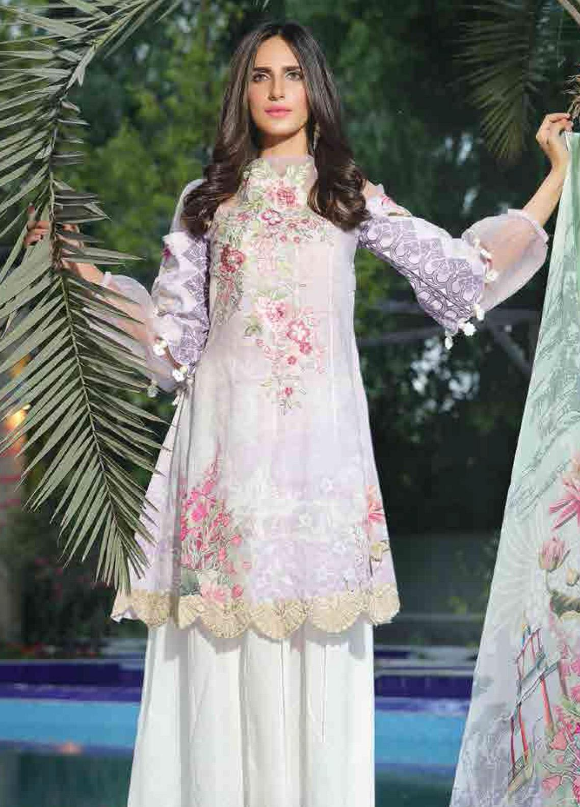 Motifz Embroidered Lawn Unstitched 3 Piece Suit AMT19F 2253 Dreamy Orchard - Festive Collection