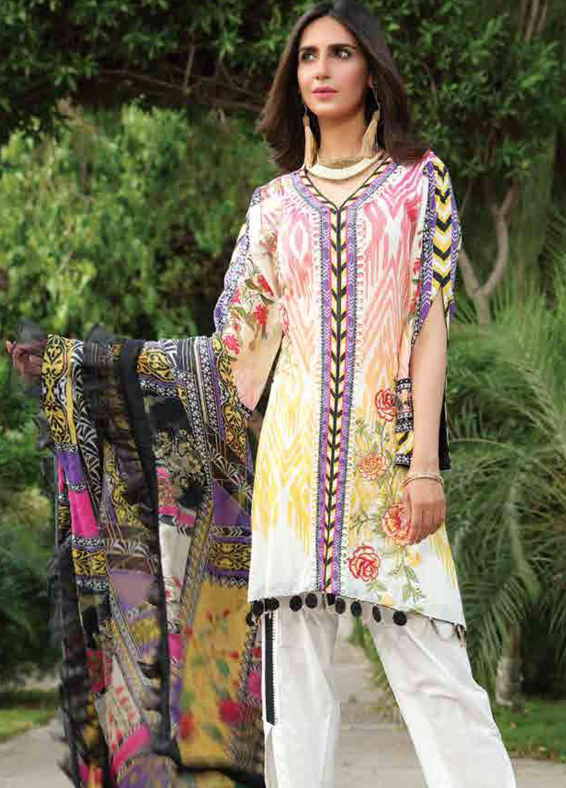 Motifz Embroidered Lawn Unstitched 3 Piece Suit AMT19F 2254 Blazing Sun - Festive Collection