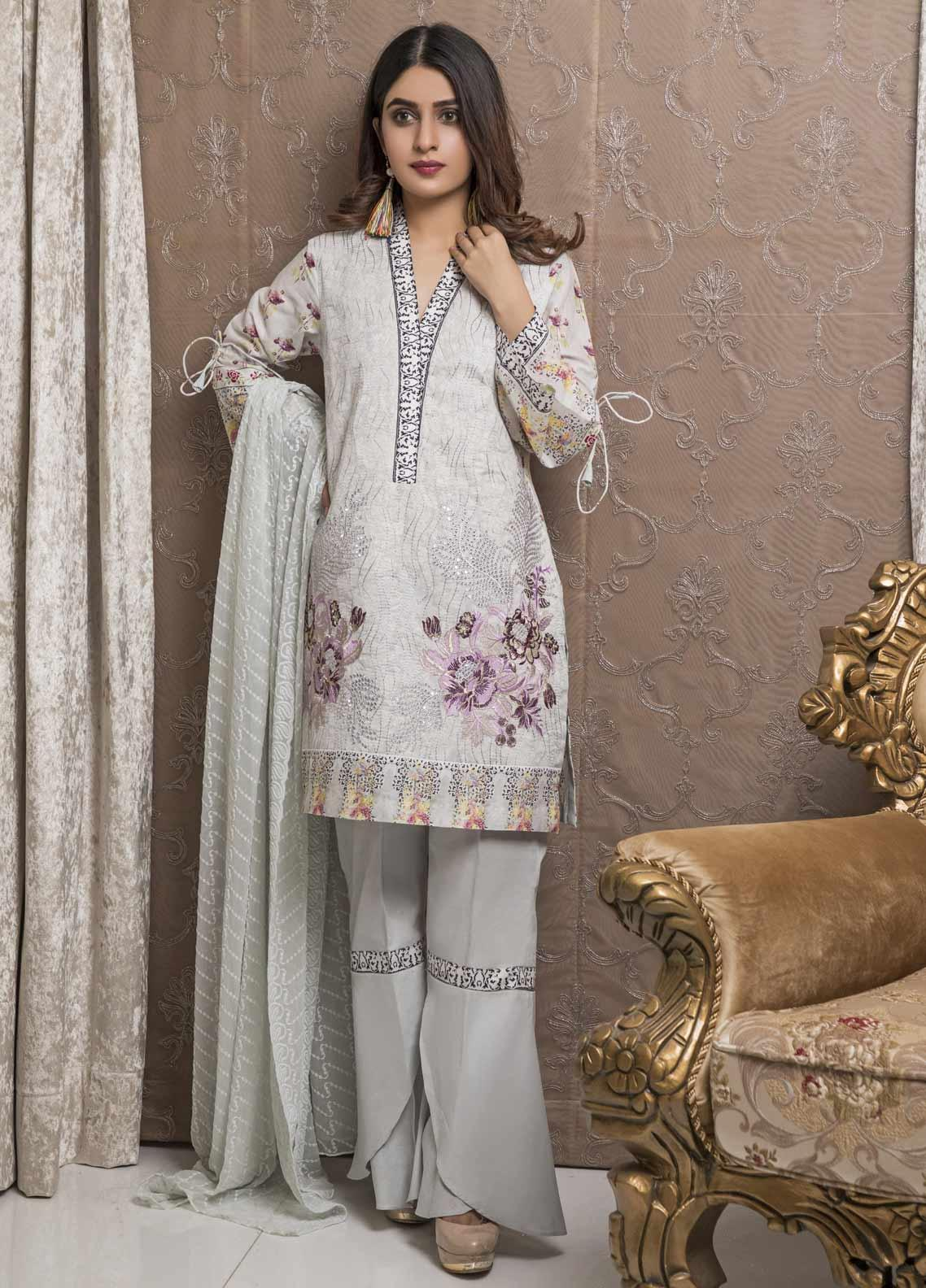 Amani by ZS Textile Embroidered Chikankari Unstitched 3 Piece Suit AZS19C 02A - Mid Summer Collection