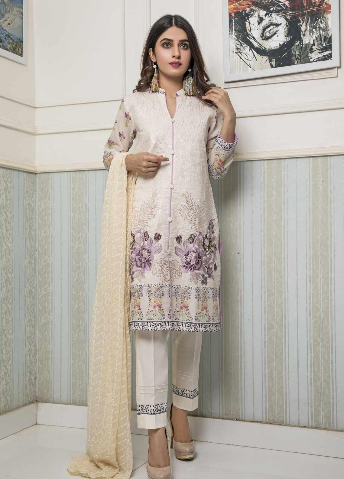 Amani by ZS Textile Embroidered Chikankari Unstitched 3 Piece Suit AZS19C 02B - Mid Summer Collection