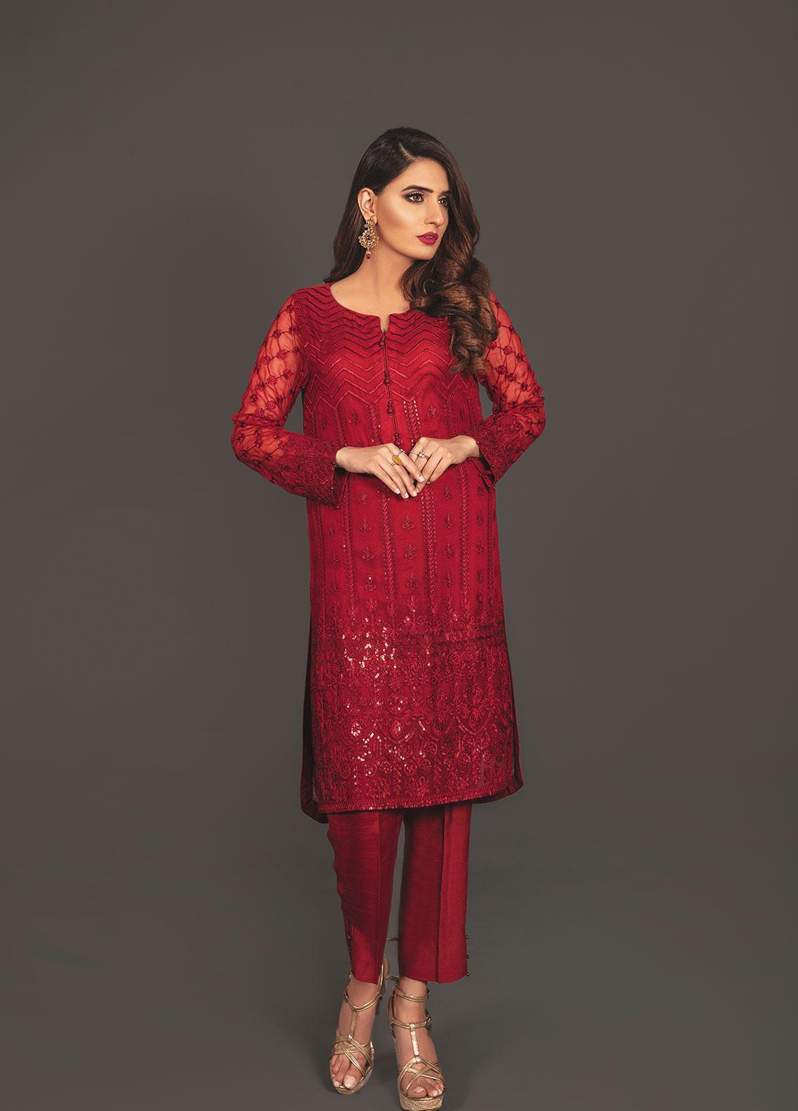 Anahi by Gulaal Embroidered Chiffon Stitched 2 Piece Suit ANG19E 01 RED RUBY