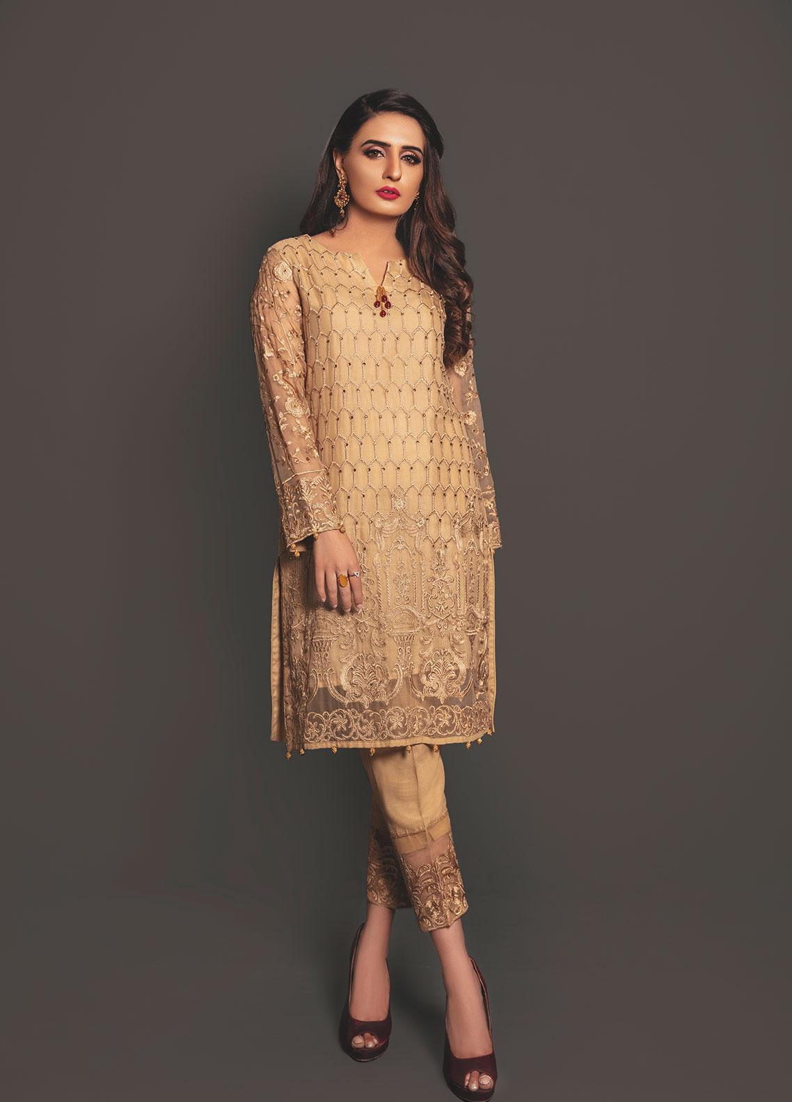 Anahi by Gulaal Embroidered Chiffon Stitched 2 Piece Suit ANG19E 03 GOLD DUST