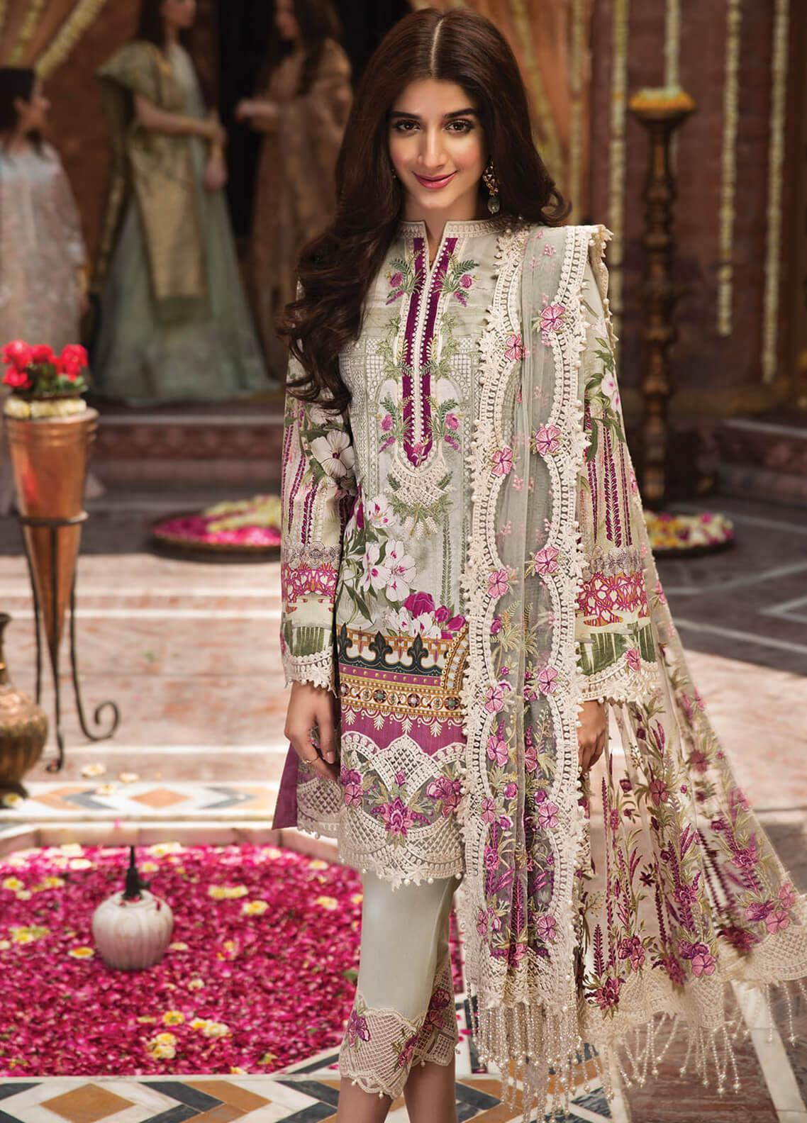 49b4c0d4ce Anaya by Kiran Chaudhry Embroidered Lawn Unstitched 3 Piece Suit AKC19F 07  NINA - Festive Collection