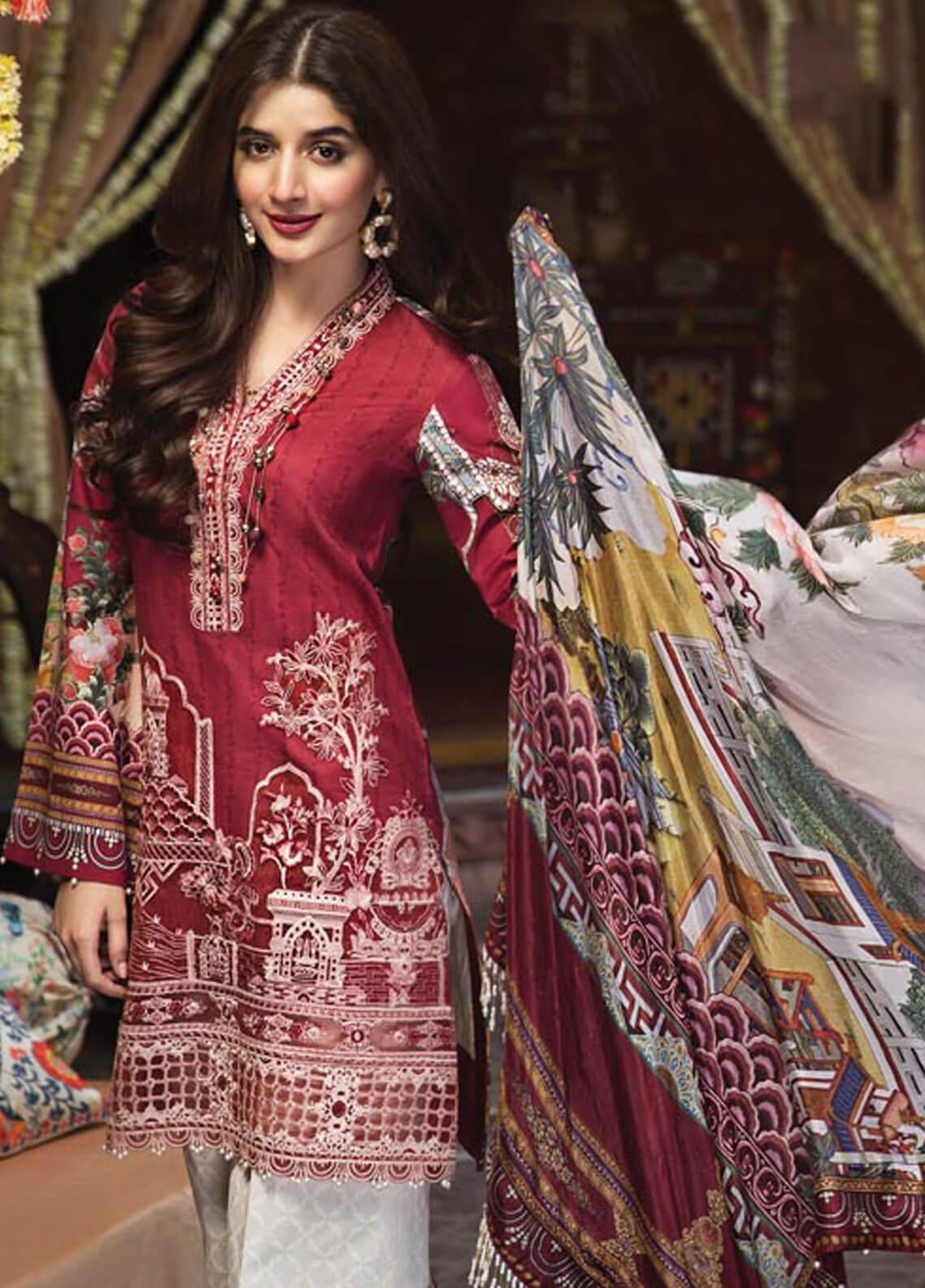 484a0cf592 Anaya by Kiran Chaudhry Embroidered Lawn Unstitched 3 Piece Suit AKC19F 08  ANYA - Festive Collection