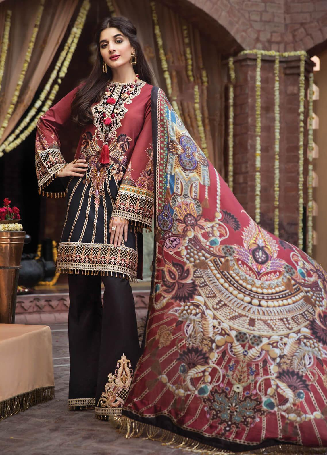 Anaya by Kiran Chaudhry Embroidered Lawn Unstitched 3 Piece Suit AKC19F 10 BOHEME - Festive Collection