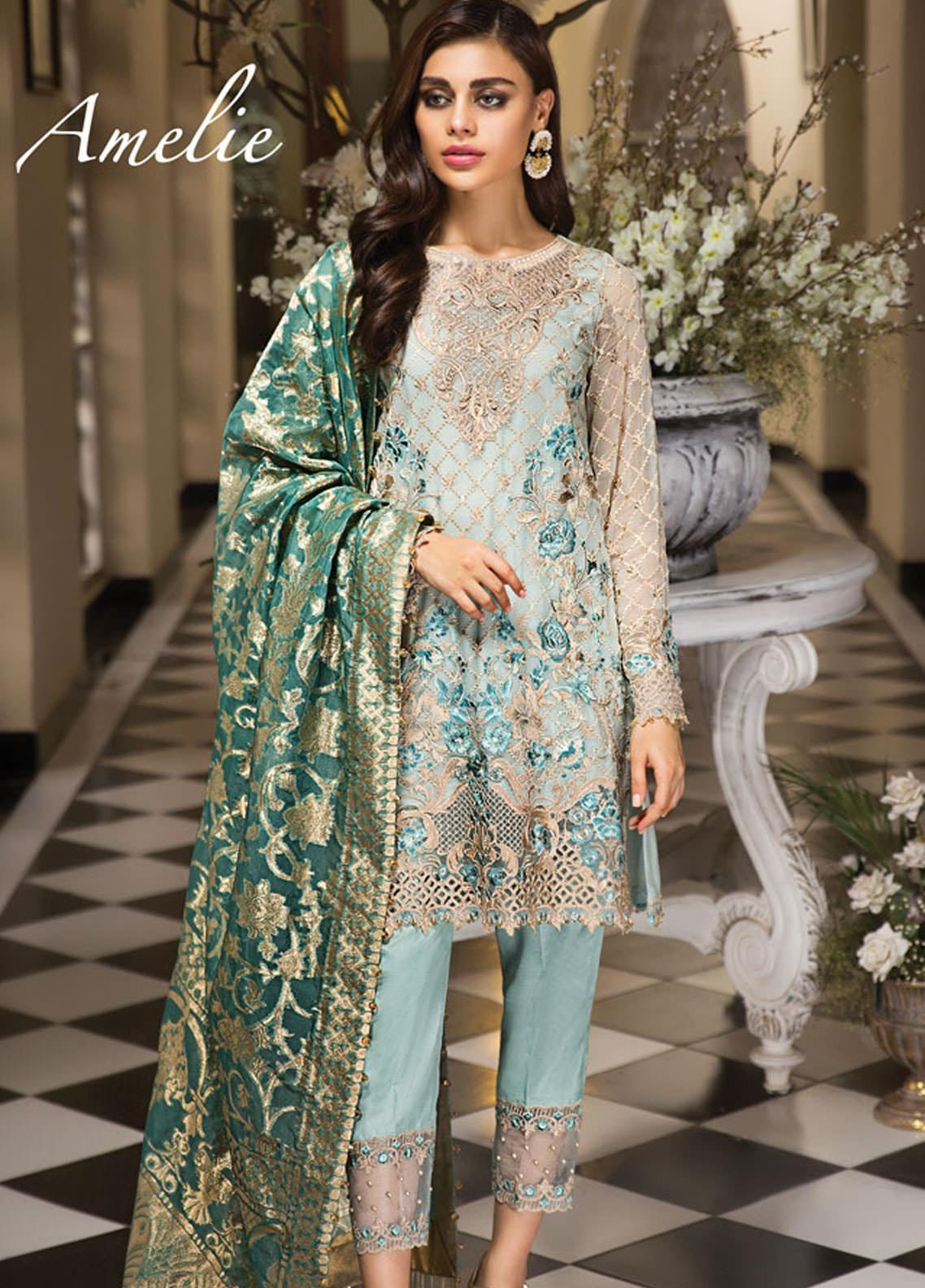 Anaya by Kiran Chaudhry Embroidered Chiffon Unstitched 3 Piece Suit AKC19E 02 AMELIE - Festive Collection