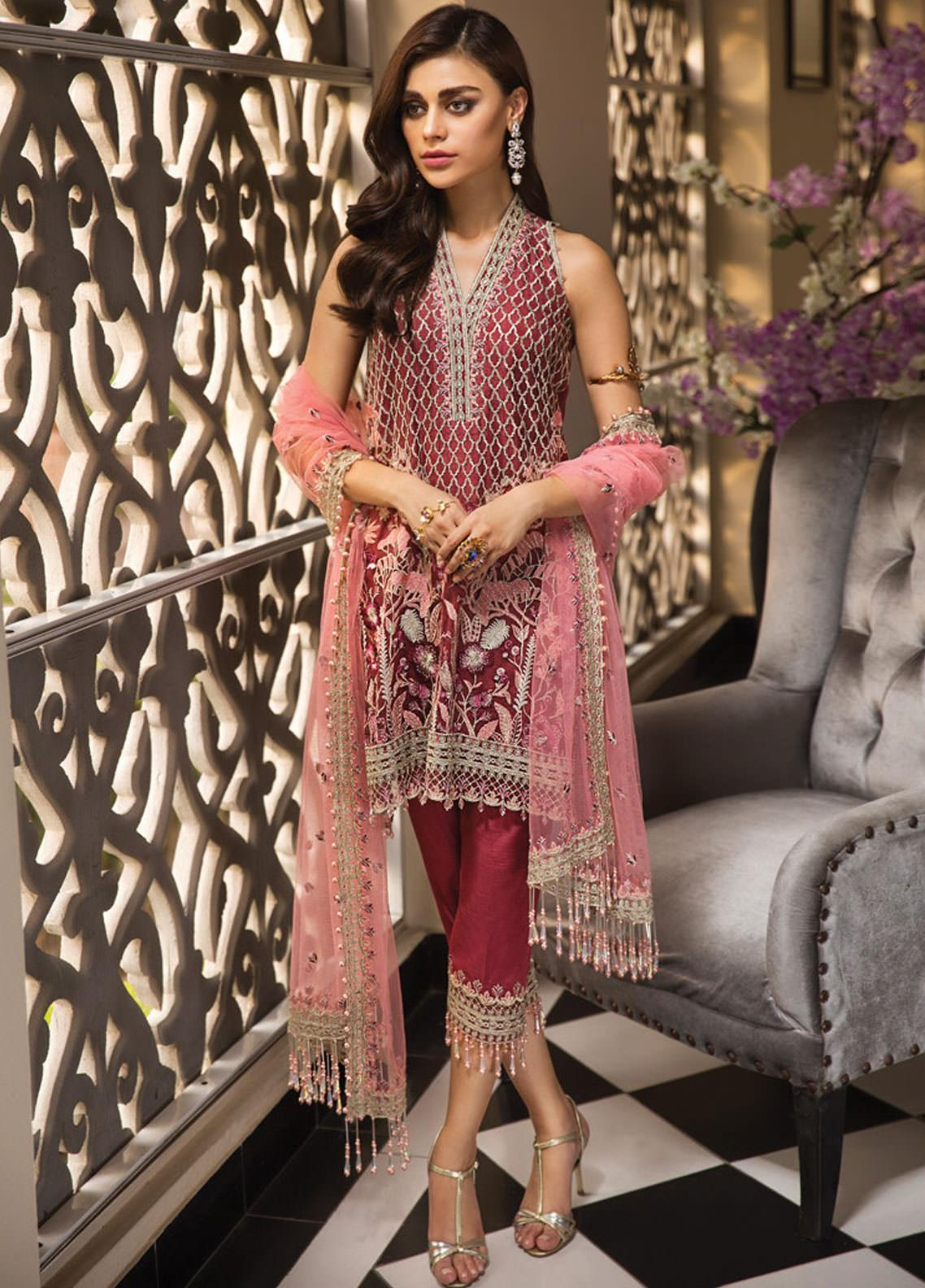 Anaya by Kiran Chaudhry Embroidered Organza Unstitched 3 Piece Suit AKC19E 05 ROSELLE - Festive Collection