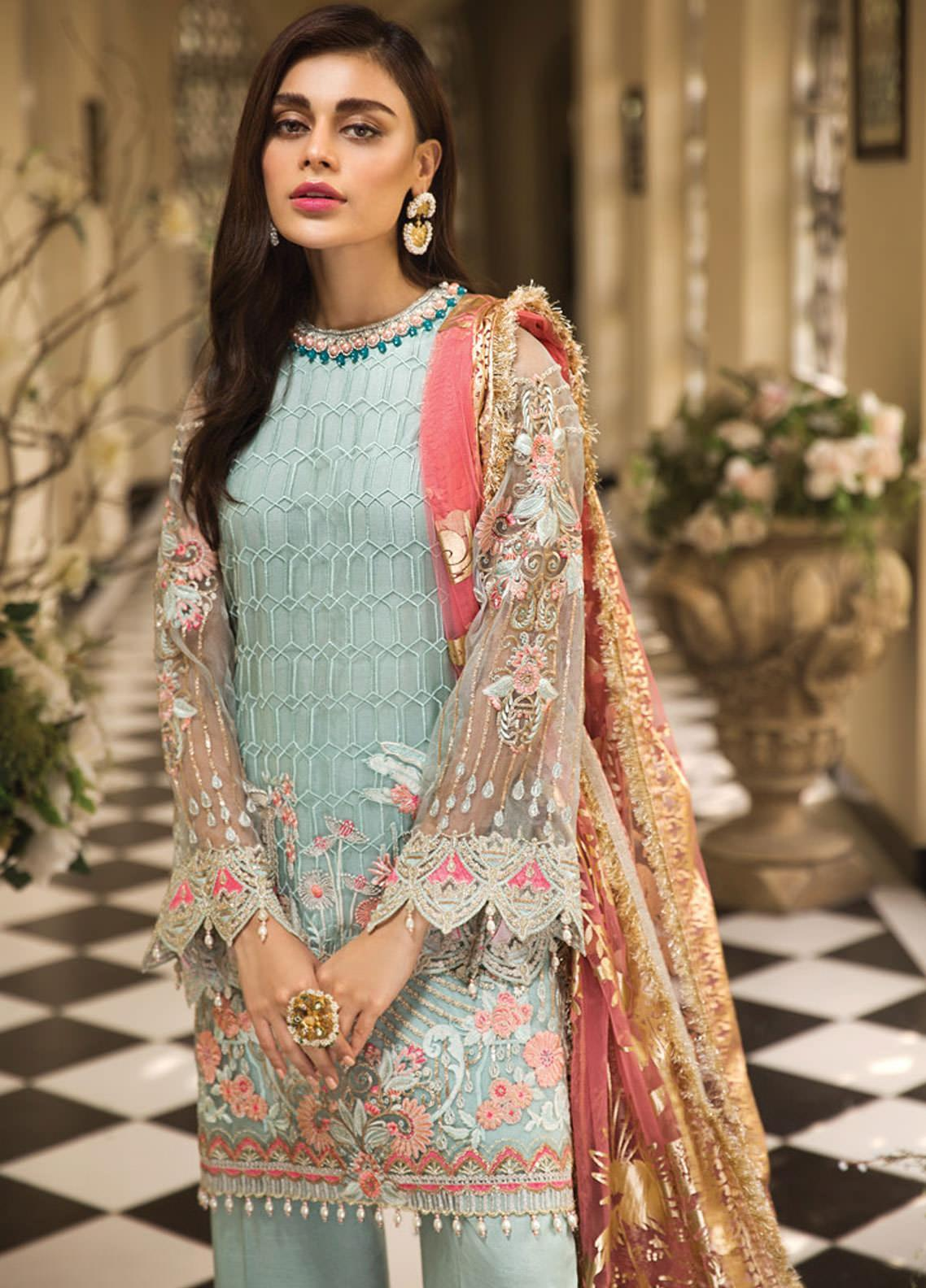 Anaya by Kiran Chaudhry Embroidered Organza Unstitched 3 Piece Suit AKC19E 06 LEAH - Festive Collection