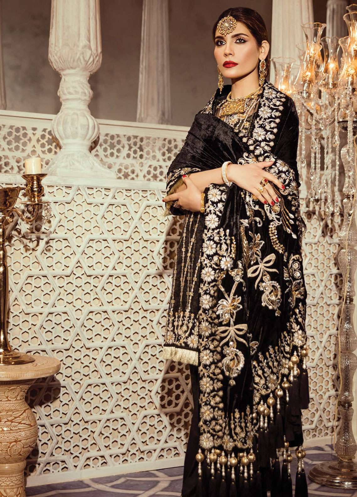 e286d3683e Anaya By Kiran Chaudhry Embroidered Zari Net Unstitched 3 Piece Suit  AKC18KR 02 Jewel - Wedding Collection
