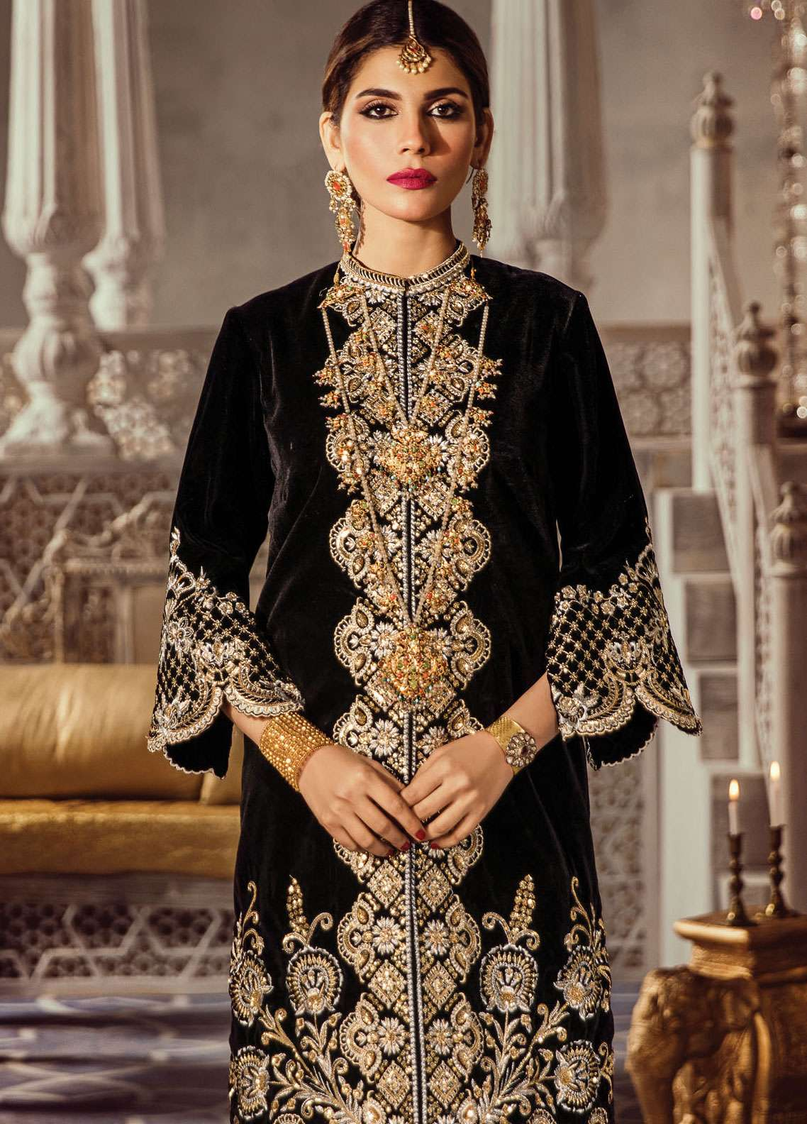 Anaya By Kiran Chaudhry Embroidered Velvet Unstitched 2 Piece Suit AKC18KR  04 Midnight - Wedding Collection