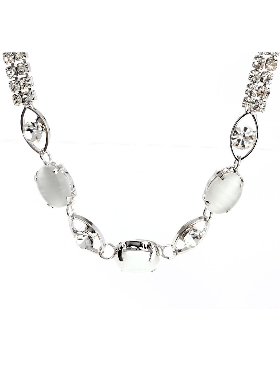 Anna Grace London Silver Crystal Sparkling Pearl Bracelet AGB0068 - Ladies Jewellery