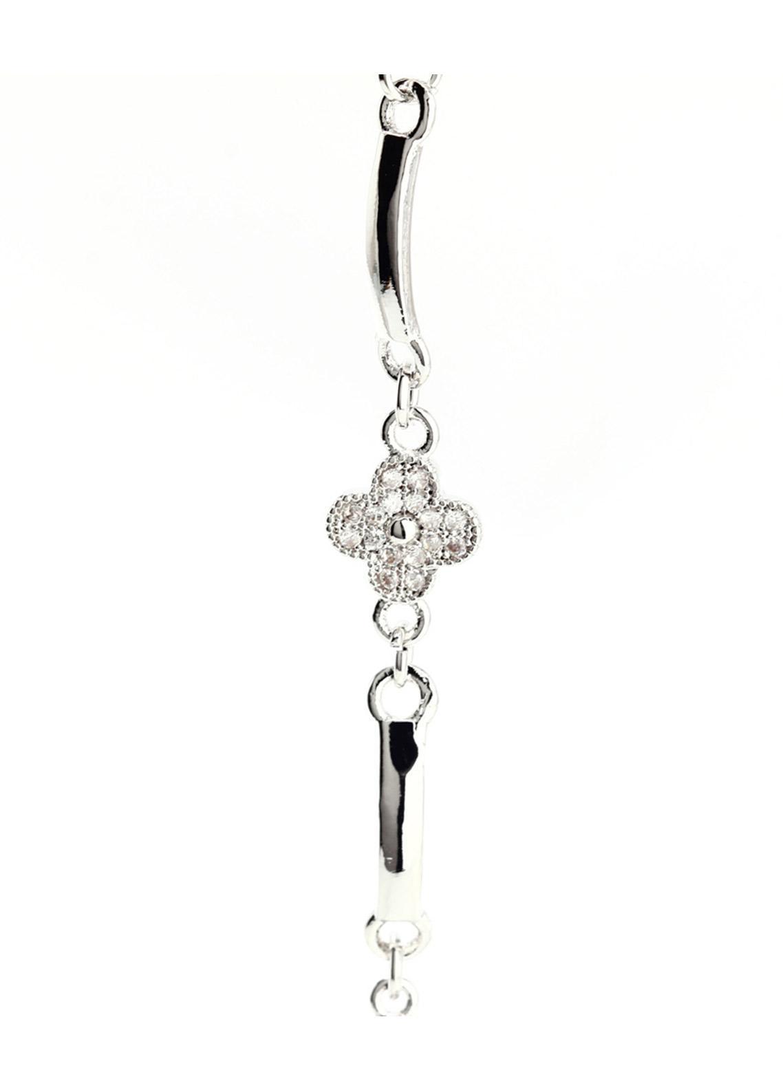 Anna Grace London Silver Crystal Flower Bracelet AGB0071 - Ladies Jewellery