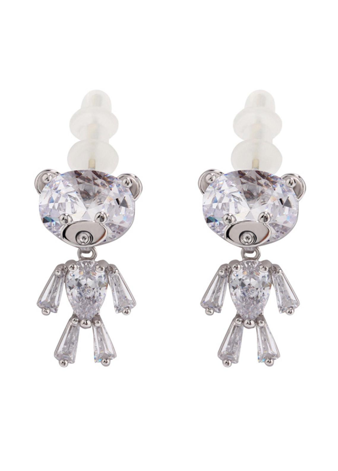 Anna Grace London by Silk Avenue Silver Crystal Sparkling Teddy Bear Earring AGE0013 - Ladies Jewellery