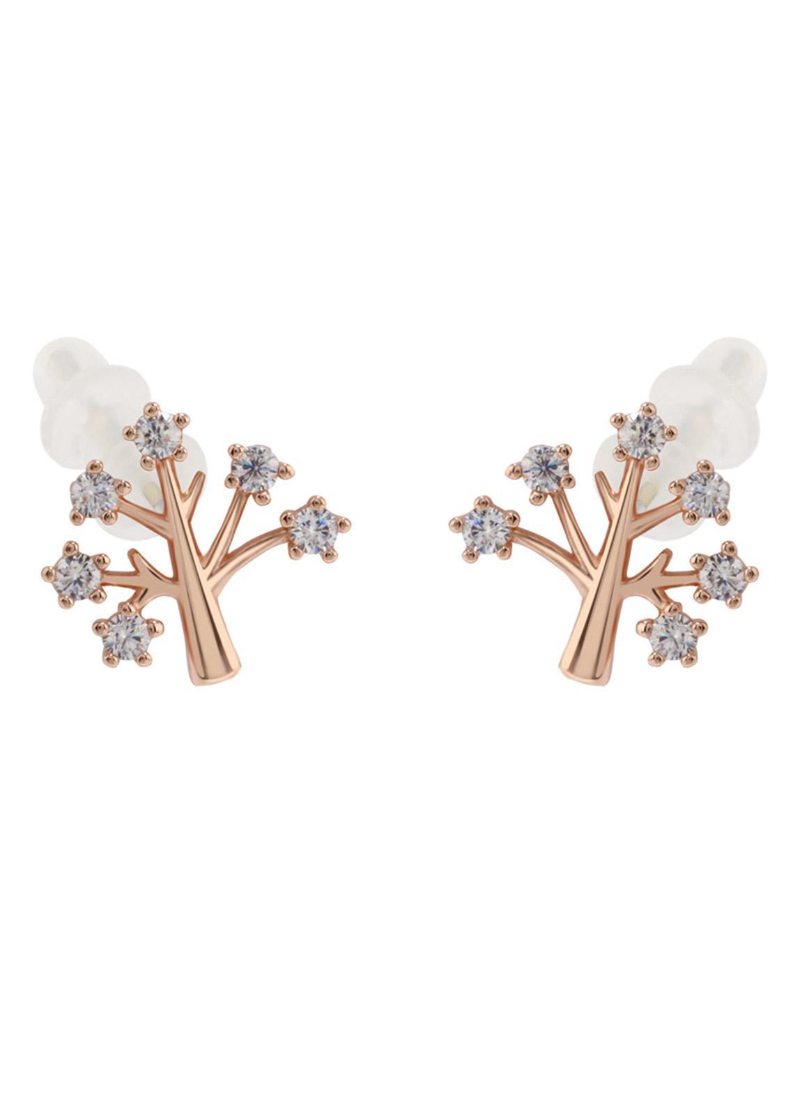 Anna Grace London by Silk Avenue Gold Crystal Sparkling Tree Earring AGE0016 - Ladies Jewellery