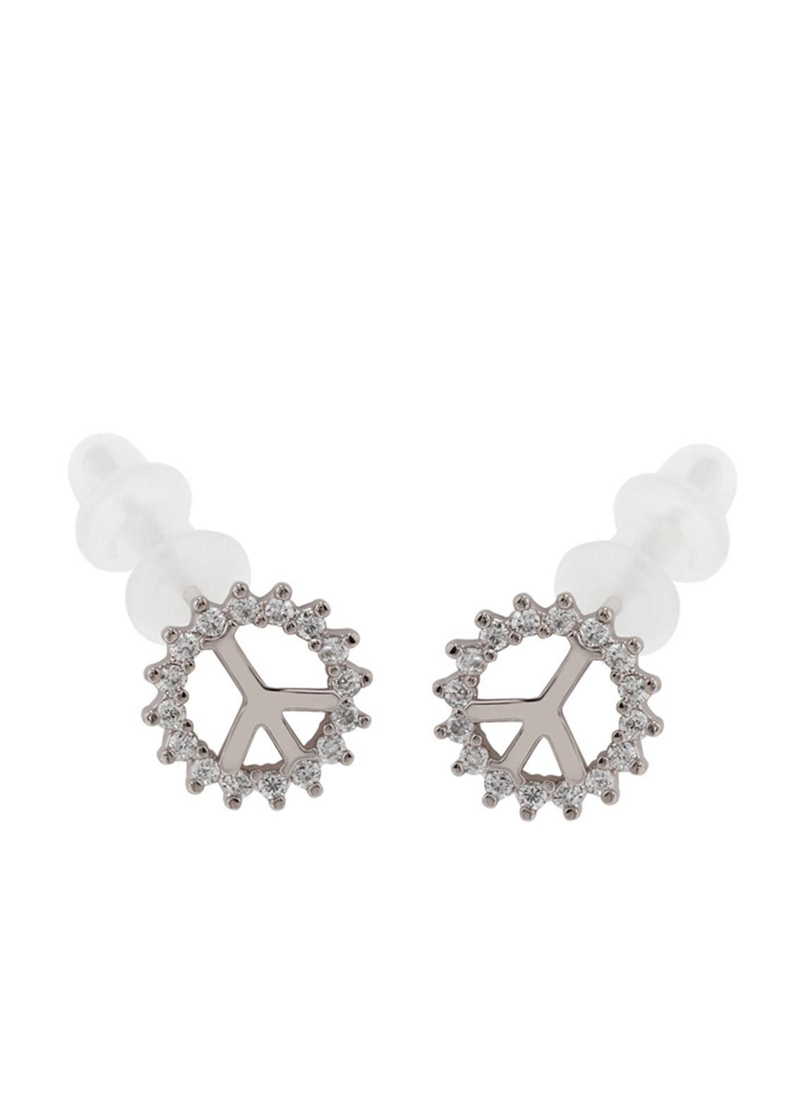Anna Grace London by Silk Avenue Silver Crystal Sparkling Peace Earring AGE0017 - Ladies Jewellery
