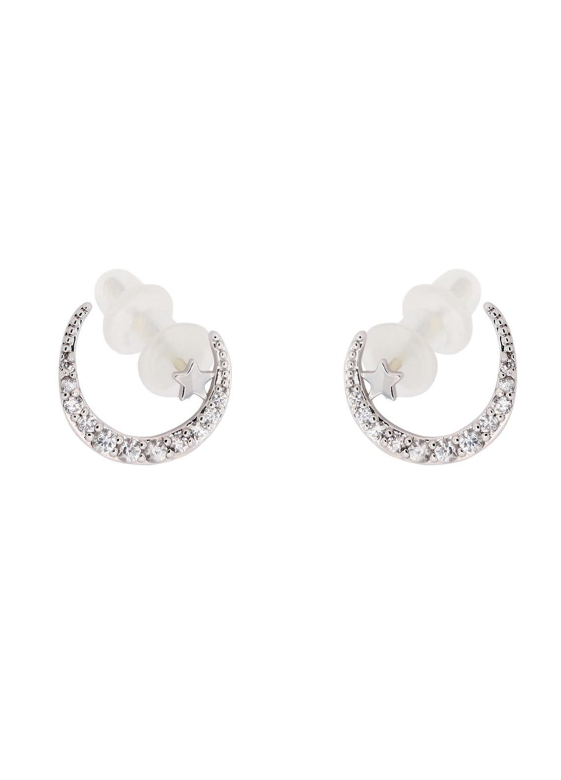 Anna Grace London by Silk Avenue Silver Crystal Sparkling Moon & Star Earring AGE0018 - Ladies Jewellery