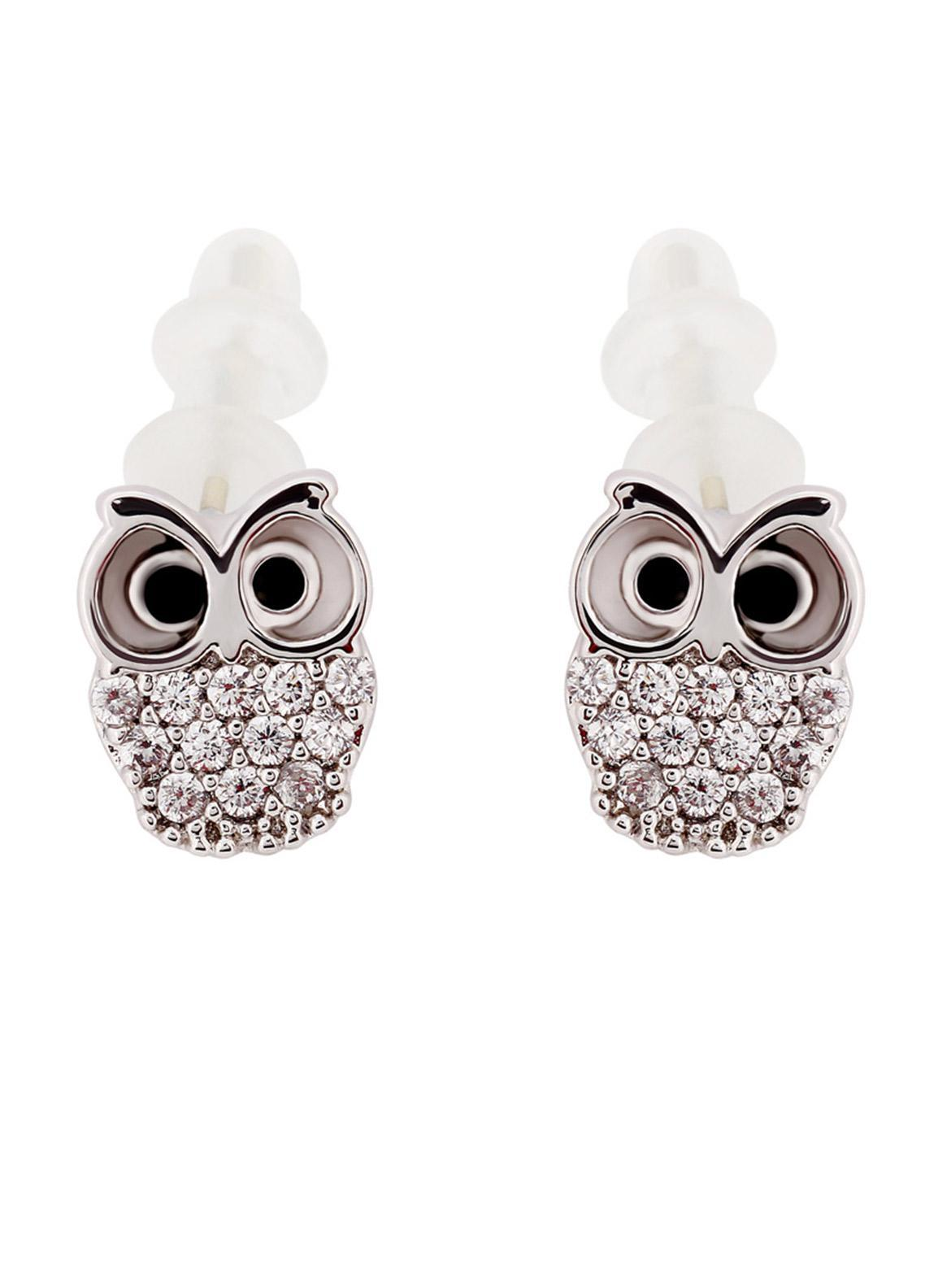 Anna Grace London by Silk Avenue Silver Crystal Sparkling Owl Earring AGE0021 - Ladies Jewellery