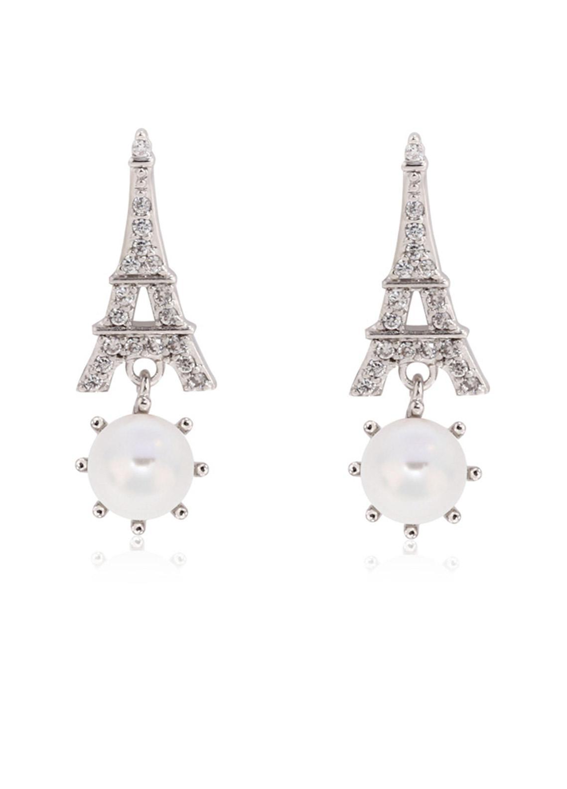 Anna Grace London by Silk Avenue Silver Crystal Sparkling Pearl Eiffel Tower Earring AGE0022 - Ladies Jewellery