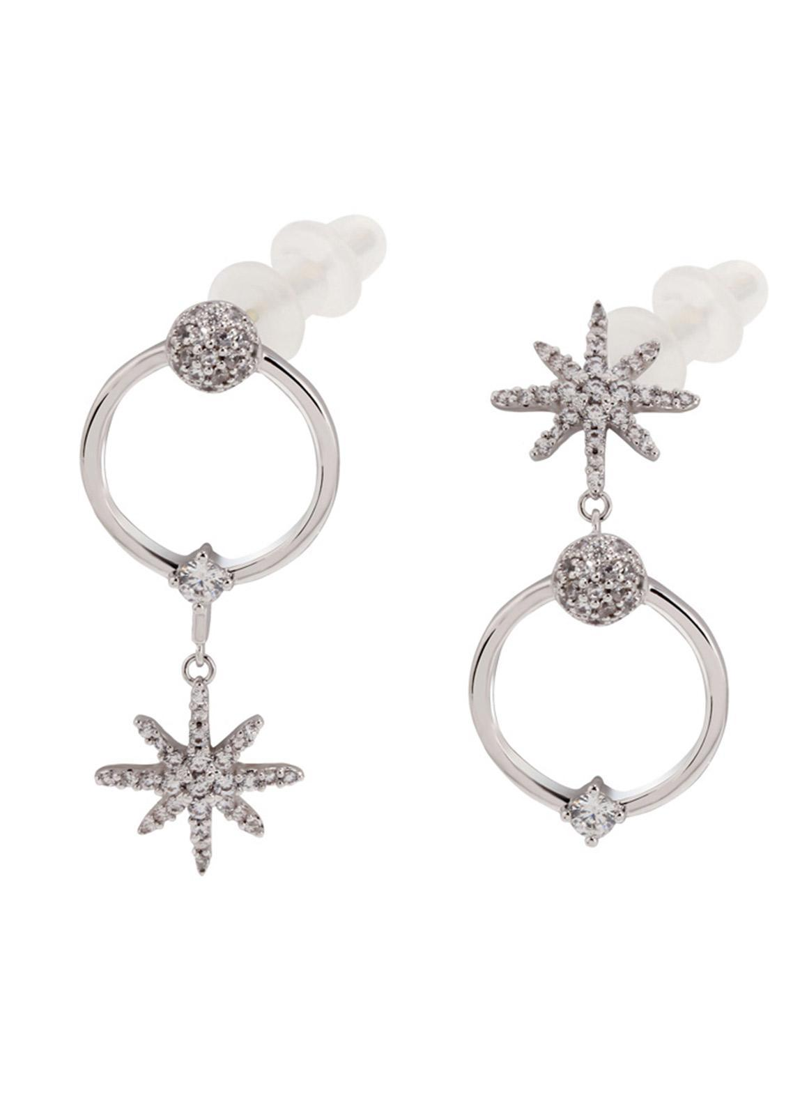 Anna Grace London by Silk Avenue Silver Crystal Sparkling Fashion Earring AGE0023 - Ladies Jewellery