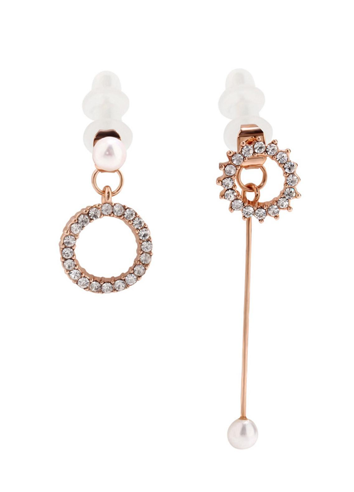 Anna Grace London by Silk Avenue Gold Crystal Pearl Fashion Earring AGE0025 - Ladies Jewellery