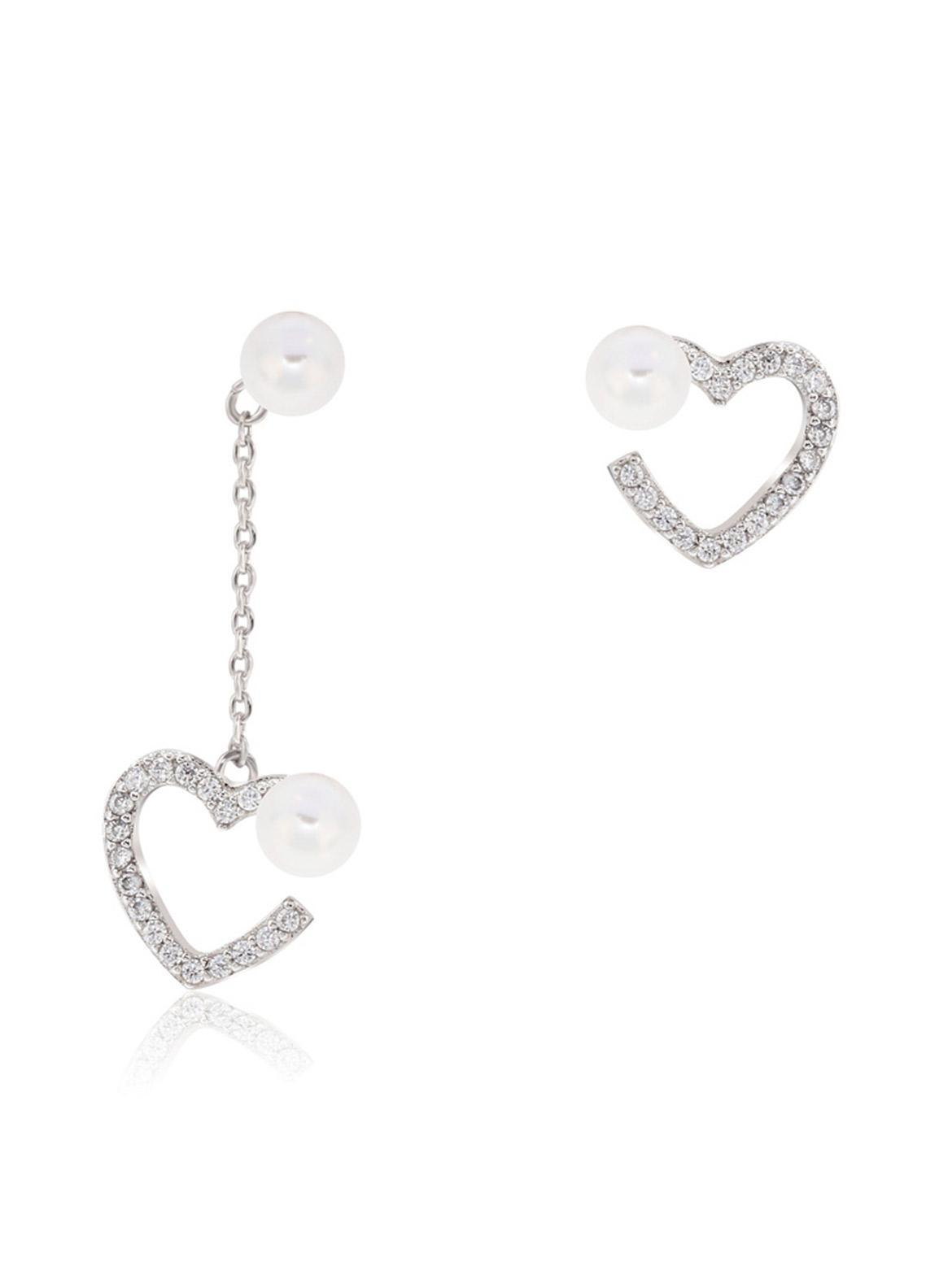 Anna Grace London by Silk Avenue Silver Crystal Sparkling Pearl Heart Earring AGE0026 - Ladies Jewellery