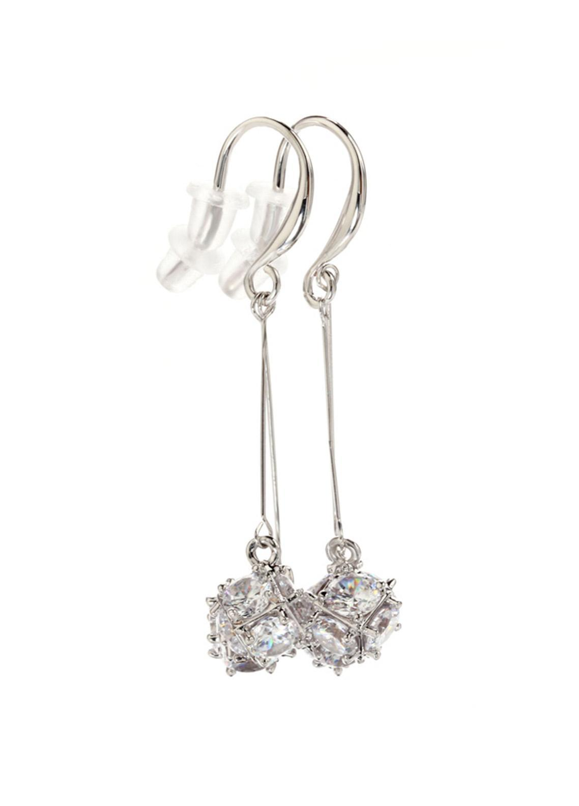Anna Grace London by Silk Avenue Silver Crystal Sparkling Square Drop Earring AGE0027 - Ladies Jewellery