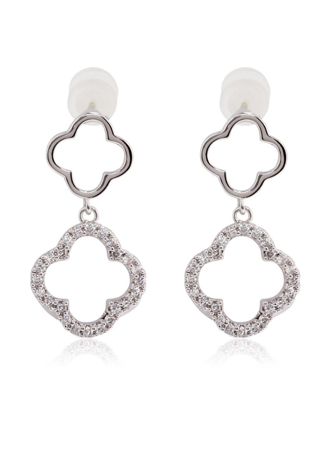 Anna Grace London by Silk Avenue Silver Crystal Sparkling Fashion Earring AGE0028 - Ladies Jewellery