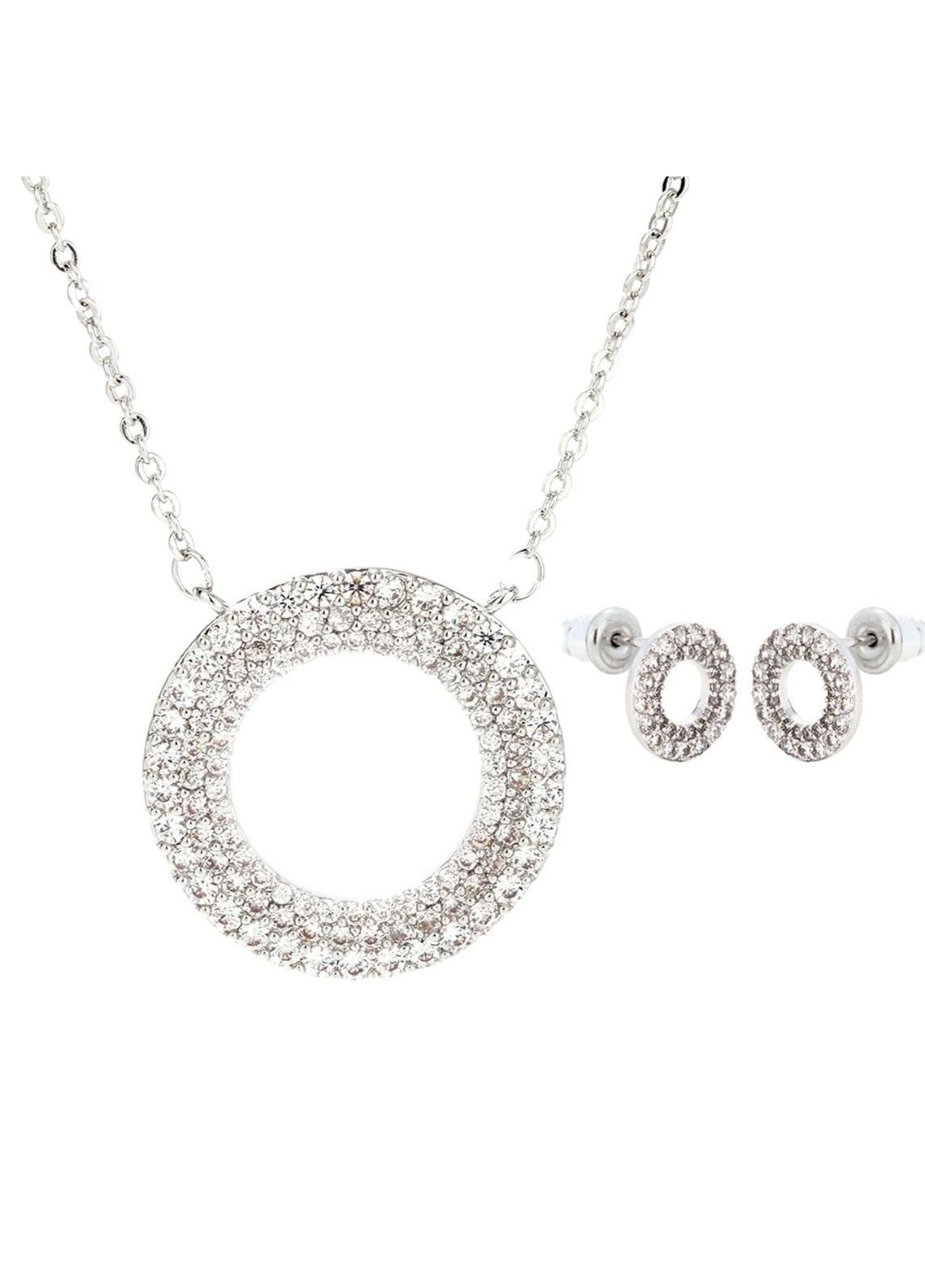 Anna Grace London by Silk Avenue Silver Plated Crystal Circle Necklace & Earrings Jewelry Set AGNE012 - Ladies Jewellery